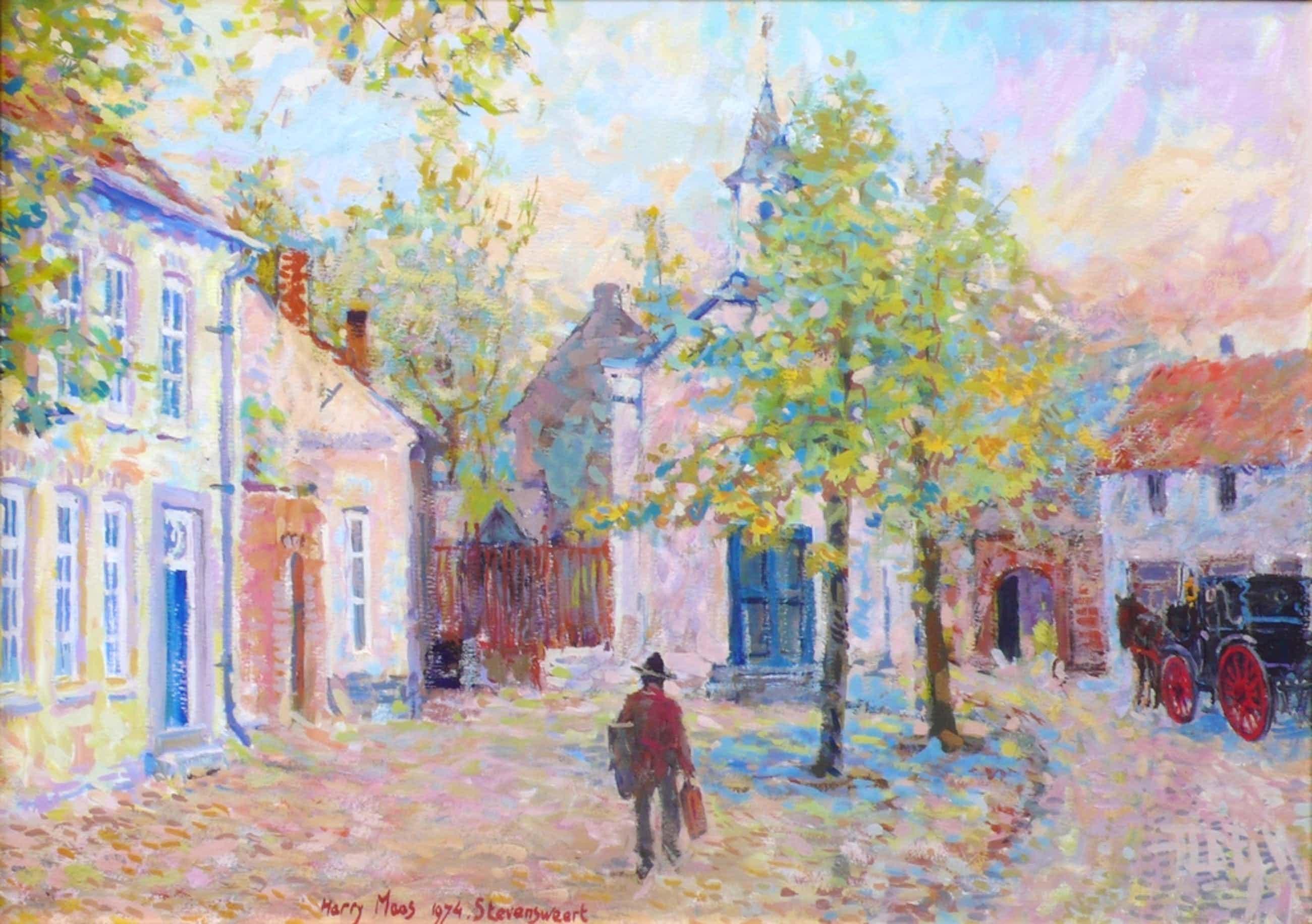Harry Maas, De schilder lopend door zij geboorteplaats Stevenweert. Gouache. kopen? Bied vanaf 850!