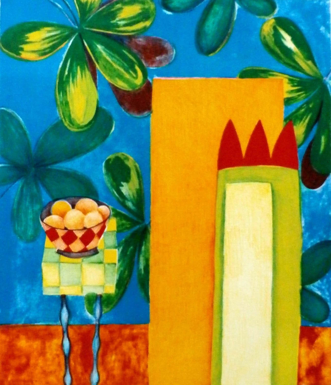 Fenneke van der Elst - zeefdruk - Rood tafeltje met appels - 1997 kopen? Bied vanaf 39!