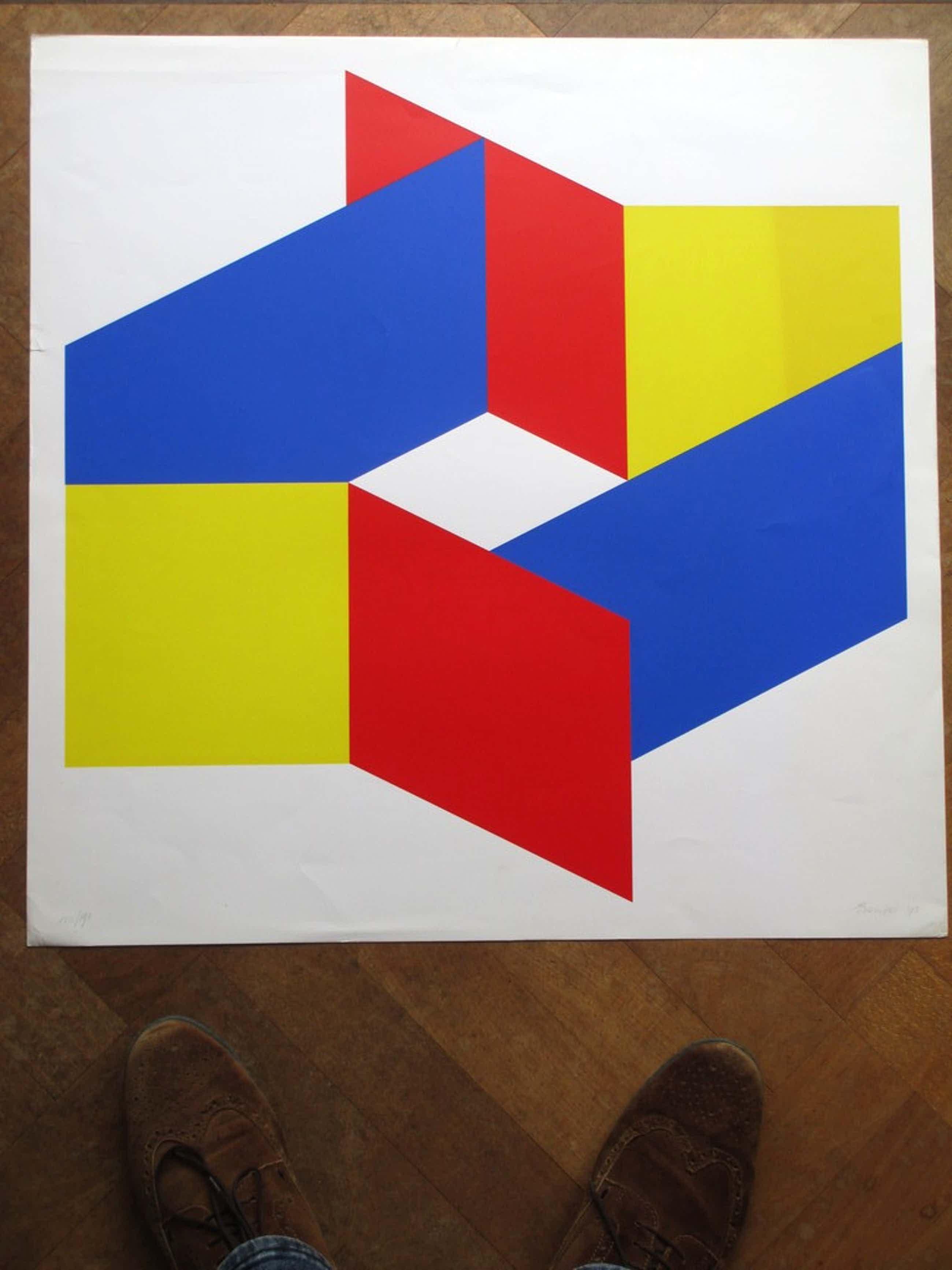 Bob Bonies, Geometrische compositie in primaire kleuren, Zeefdruk kopen? Bied vanaf 75!