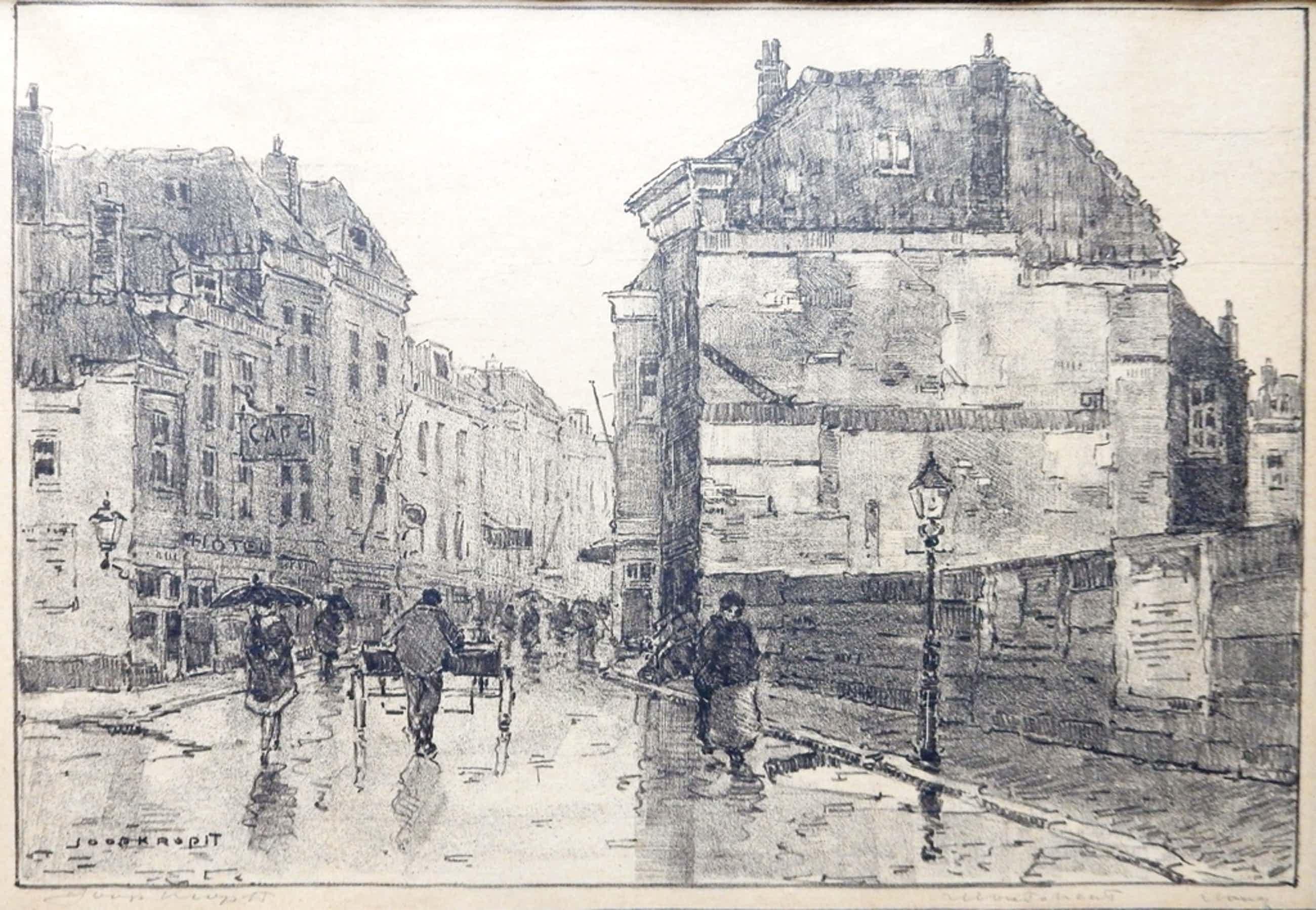 Joop Kropff (1892-1979) - Litho Moutstraat Utrecht kopen? Bied vanaf 150!