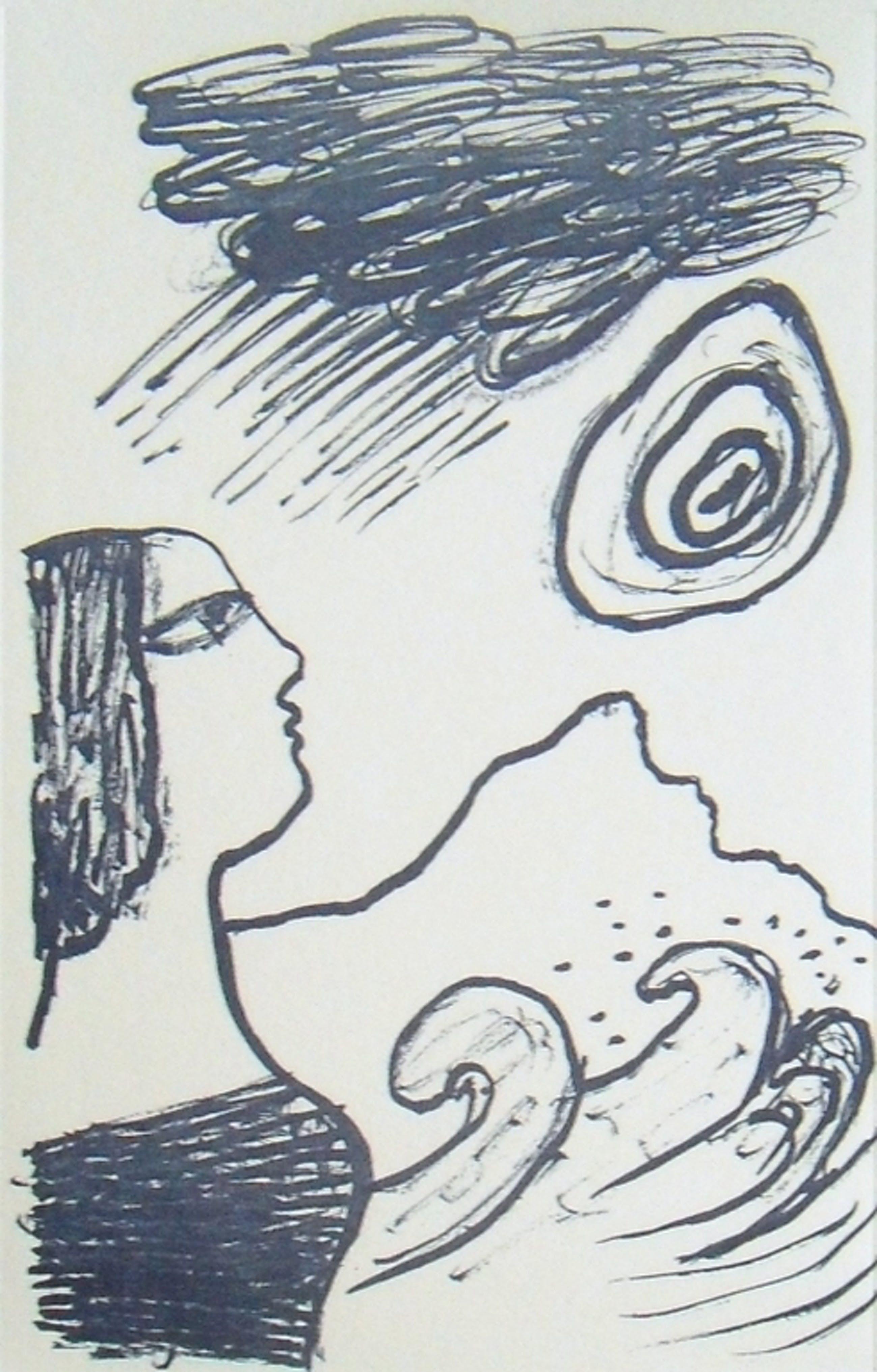 Corneille: vrouw en zee (mooie ets in blauw)  kopen? Bied vanaf 1!