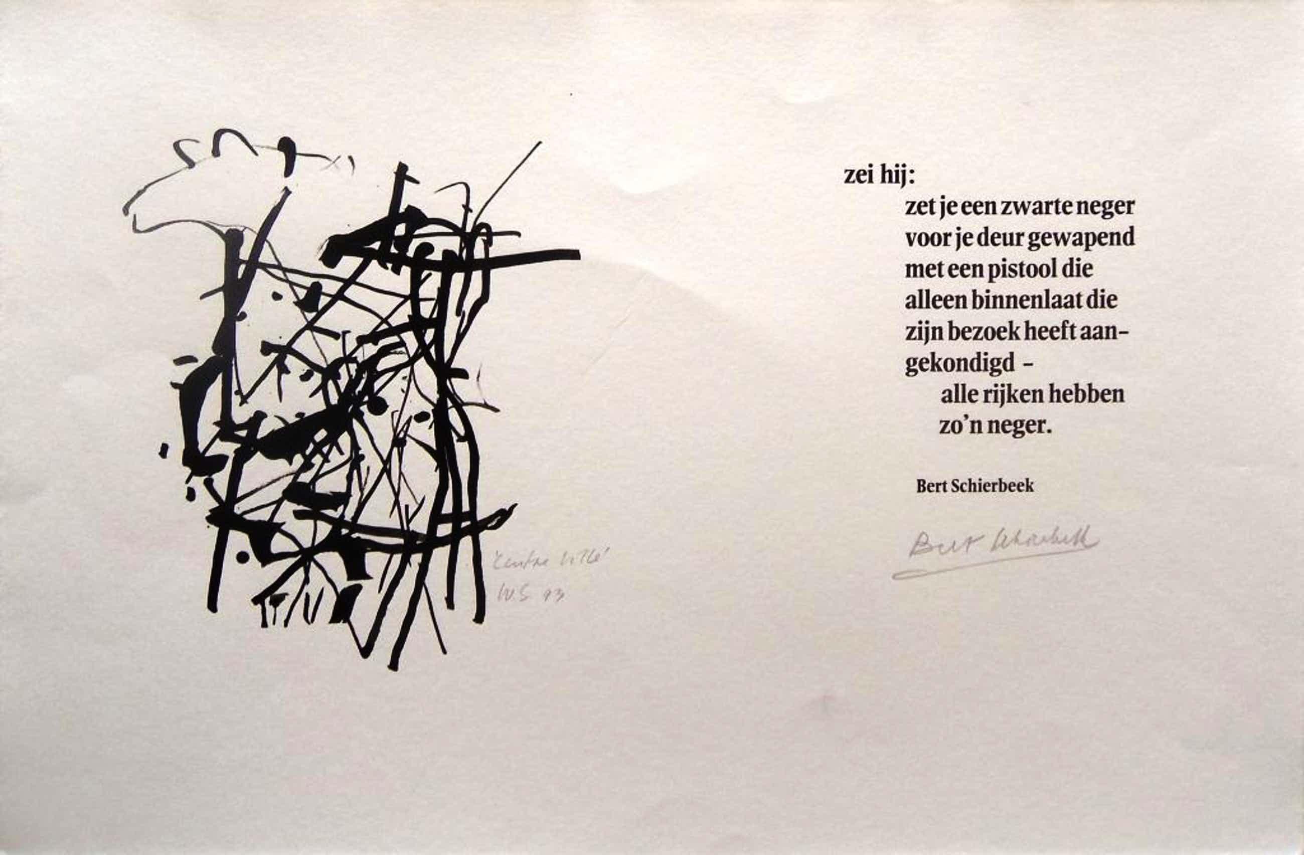 Willem Snitker: centre ville, originele tekening met gedicht van B. Schierbeek kopen? Bied vanaf 39!