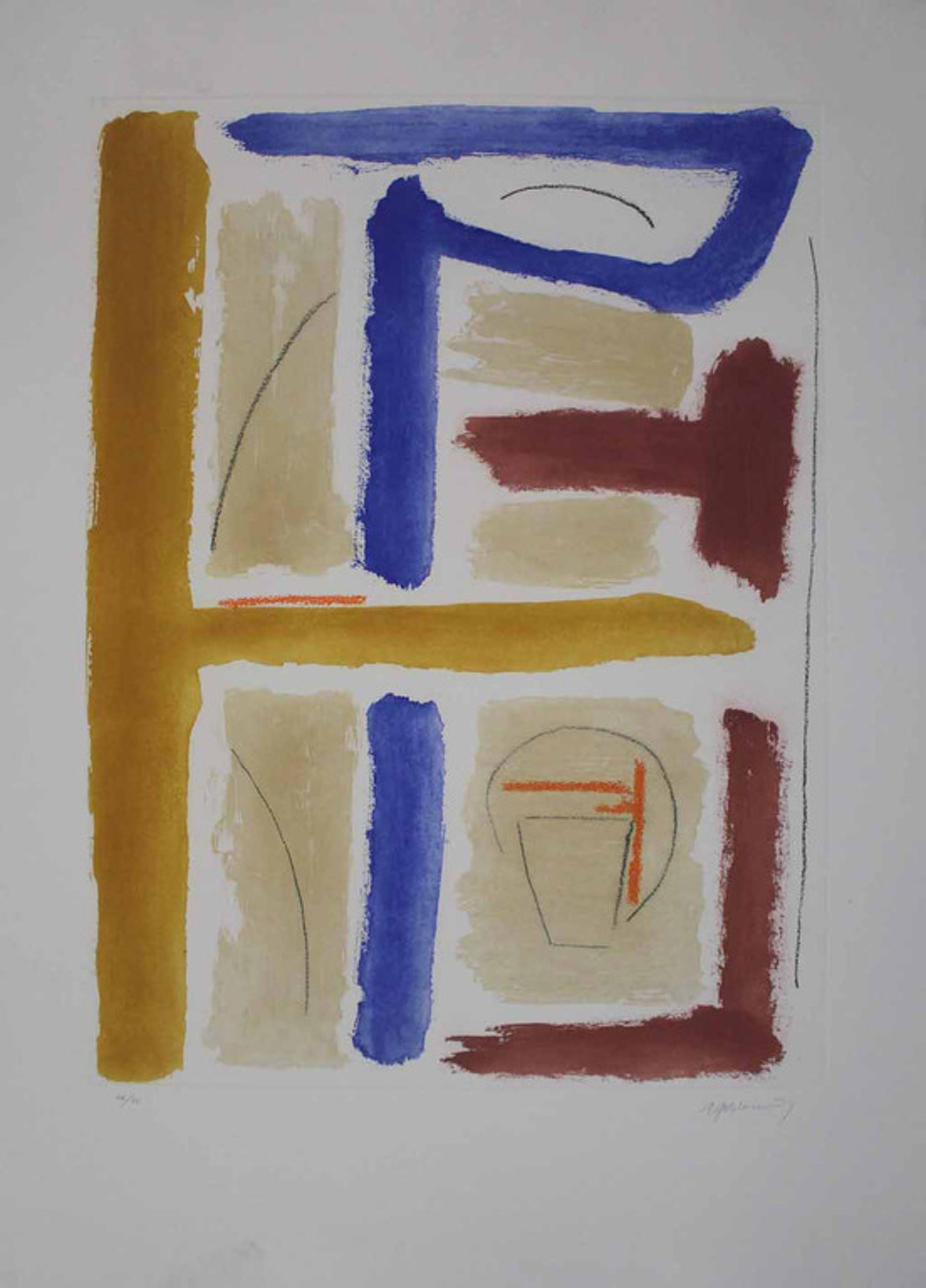 Alberto Rafols Casamada  - Abstracte Compositie - Aquatint (GROOT) - 2005 kopen? Bied vanaf 255!