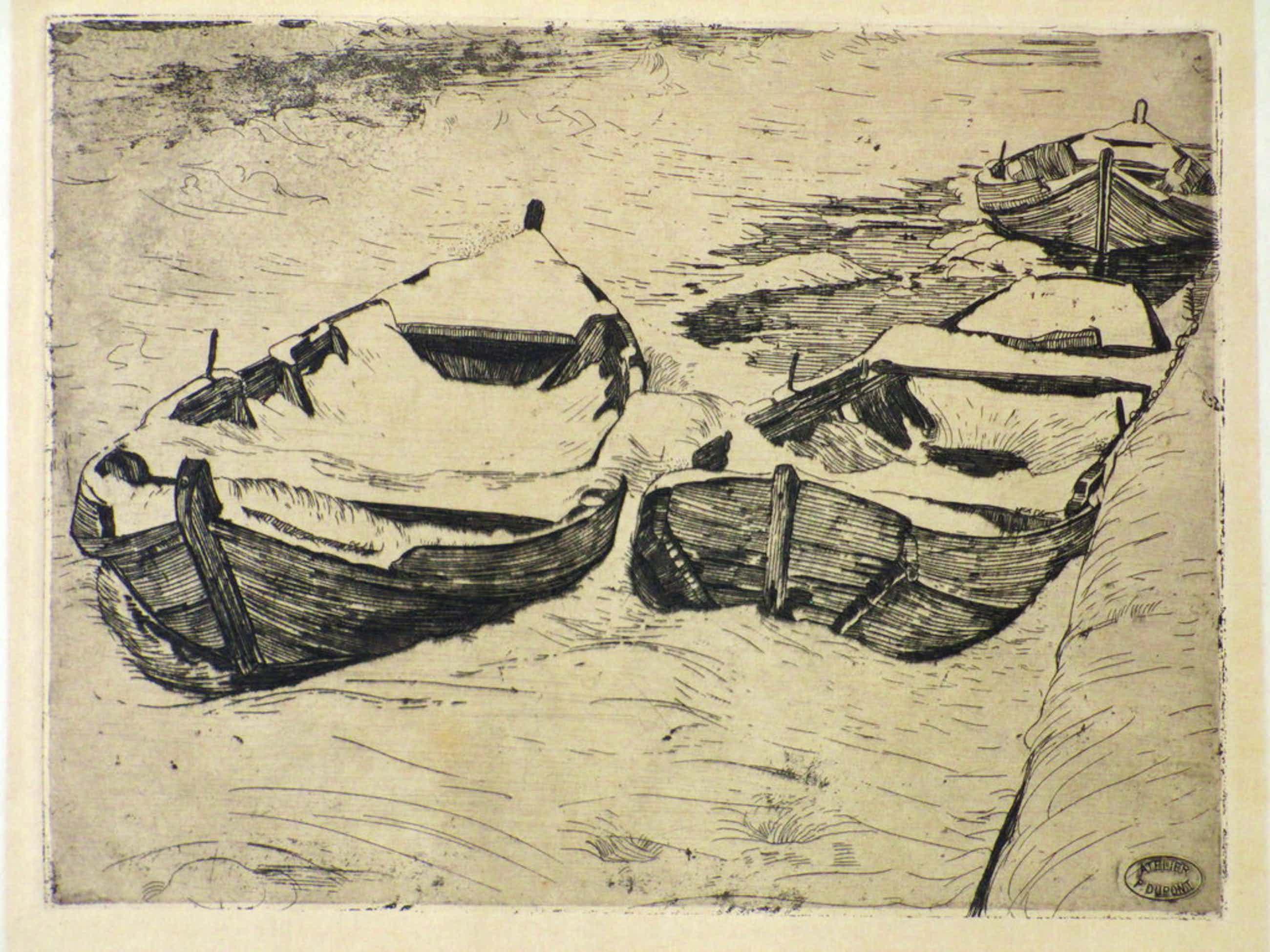 Pieter Dupont, Booten in den winter, Ets op zink 1893-94 kopen? Bied vanaf 75!