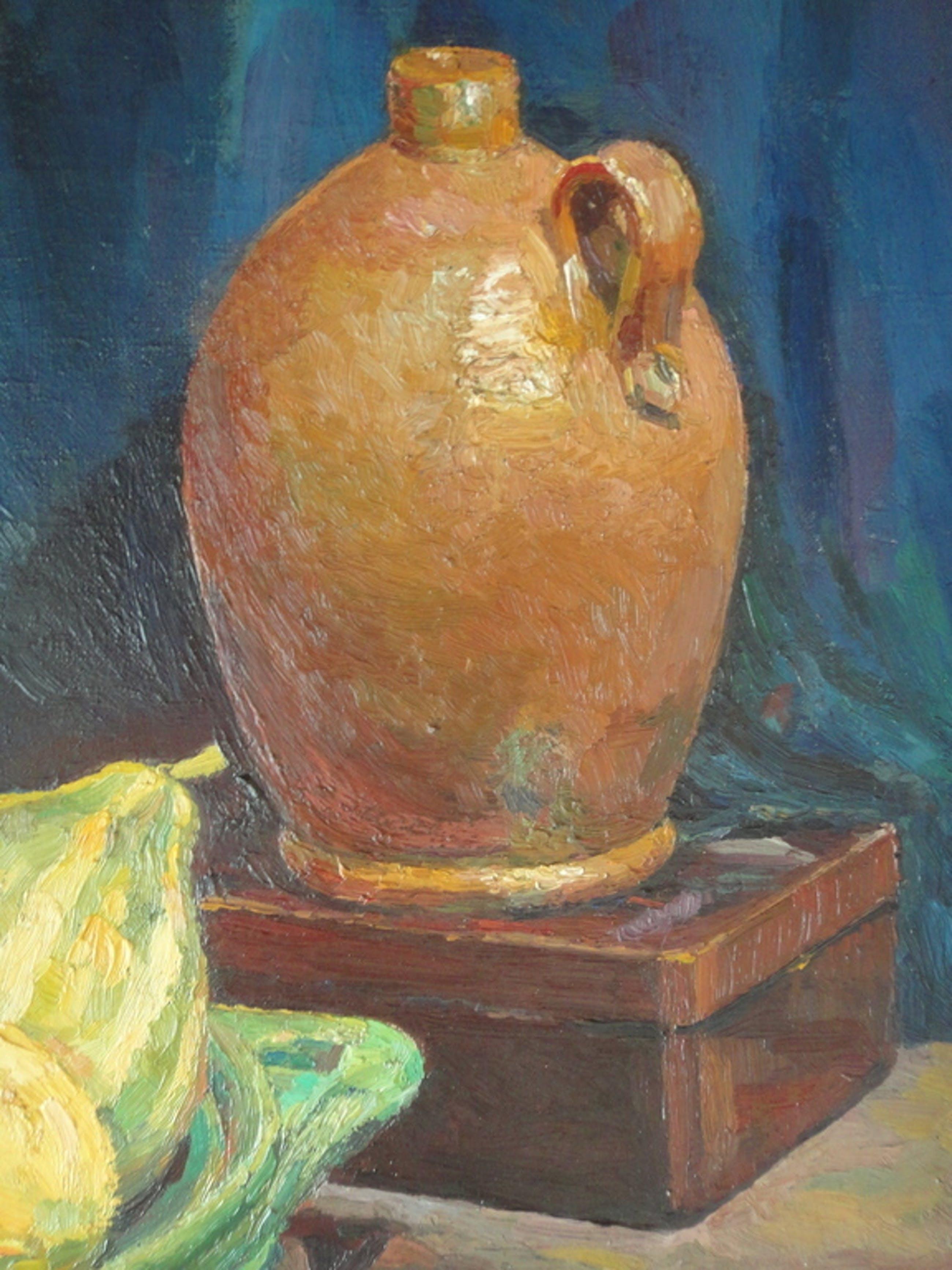 Leny IJserinkhuijsen - Leny IJserinkhuijsen (1923-2003), olieverf op doek, stilleven met o.a. pompoenen kopen? Bied vanaf 1!