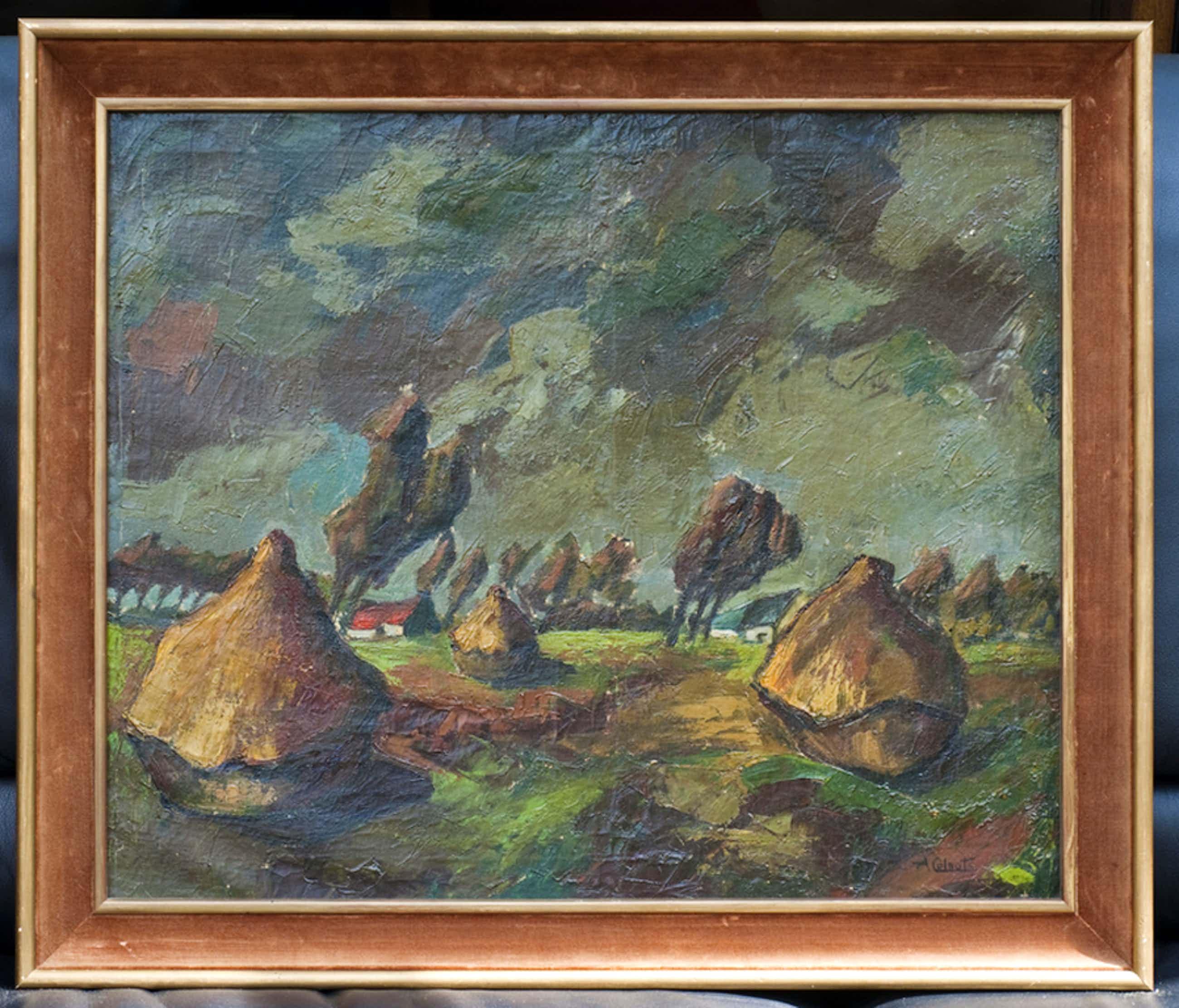 Landschap met hooioppers - olieverf op doek - gesigneerd kopen? Bied vanaf 1600!