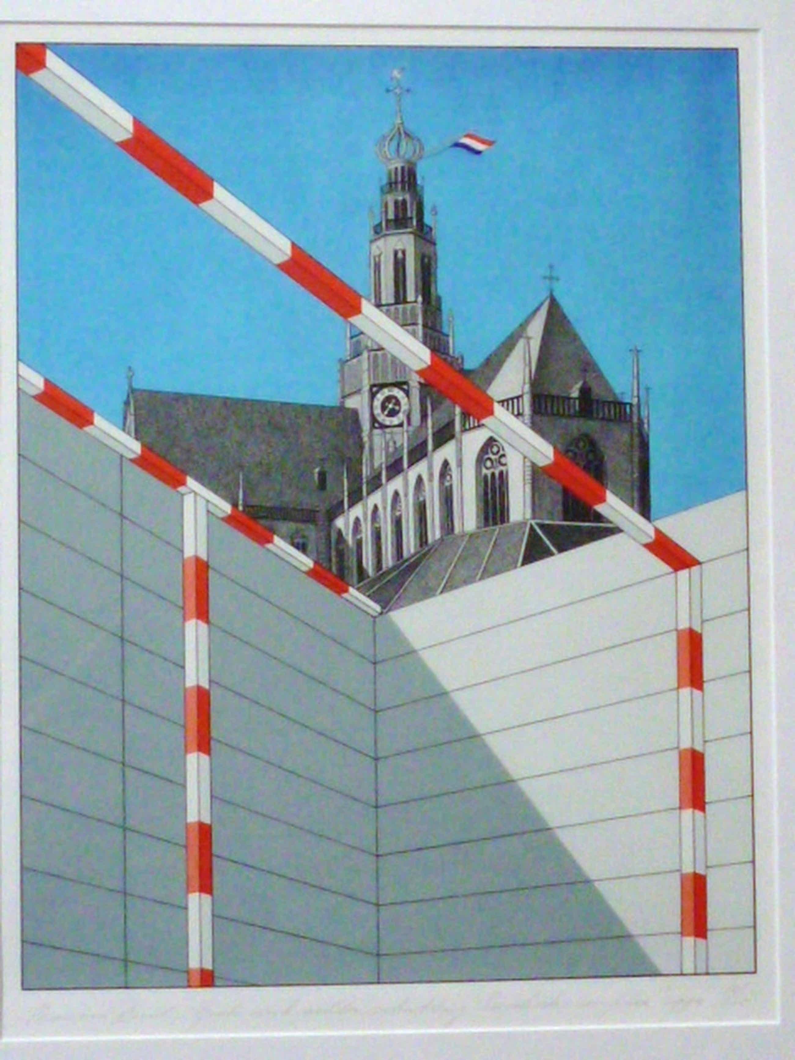 Marinus Fuit - kleurenlitho - Grote Kerk achter schutting Enschede-complex kopen? Bied vanaf 100!