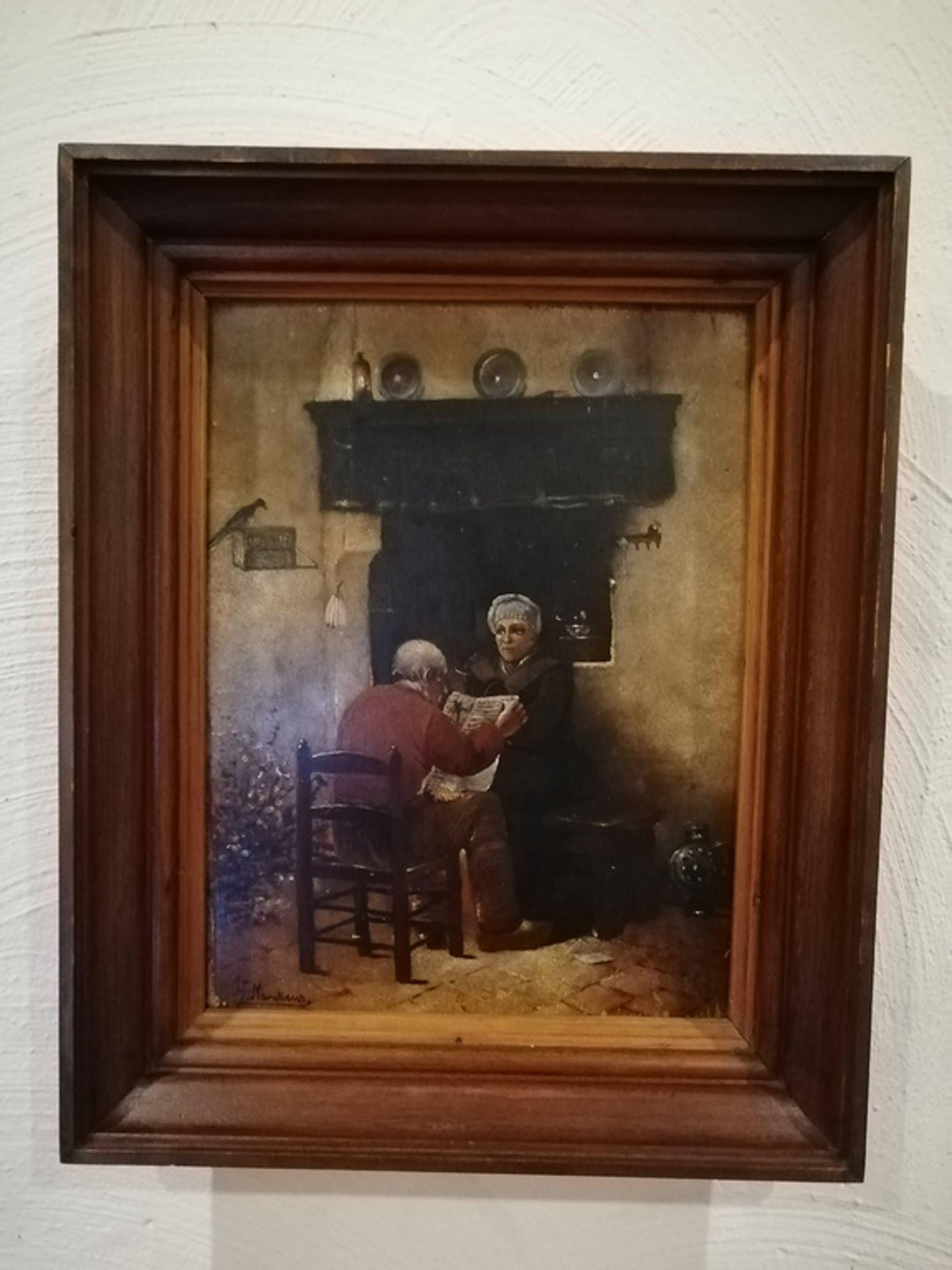 onbekend kunstenaar - olieverf op paneel - landelijk interieur kopen? Bied vanaf 1!