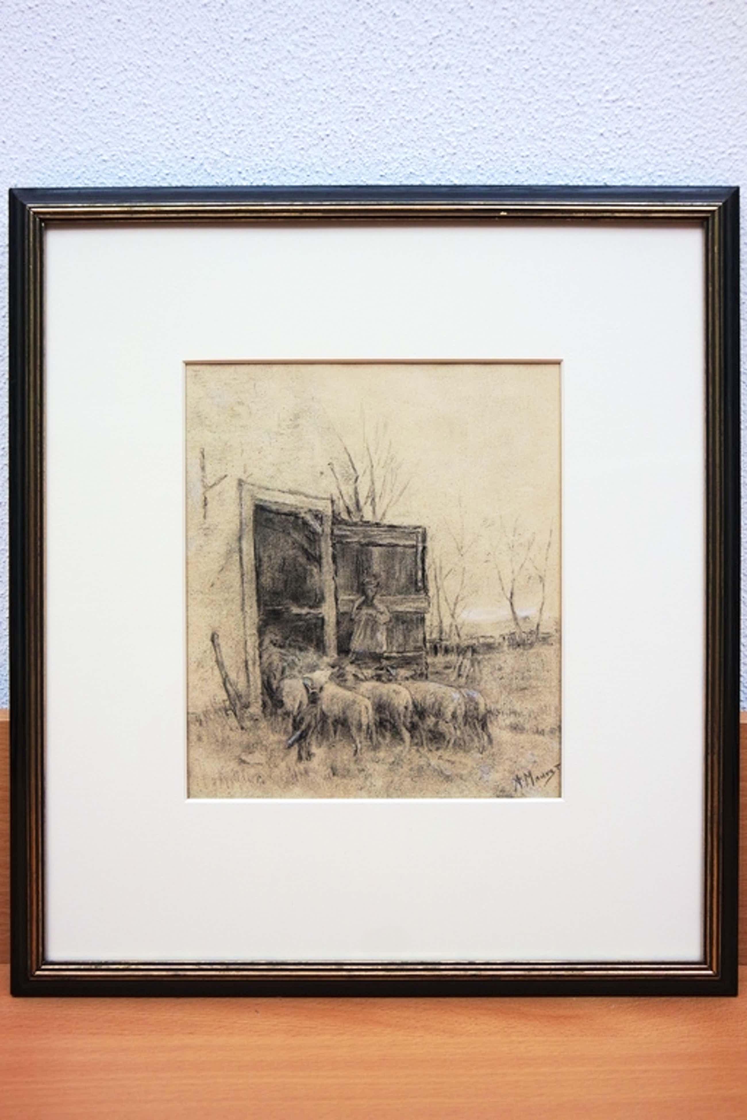 Anton Mauve (1838-1888) - houtskooltekening - Boer met zijn schapen kopen? Bied vanaf 1750!
