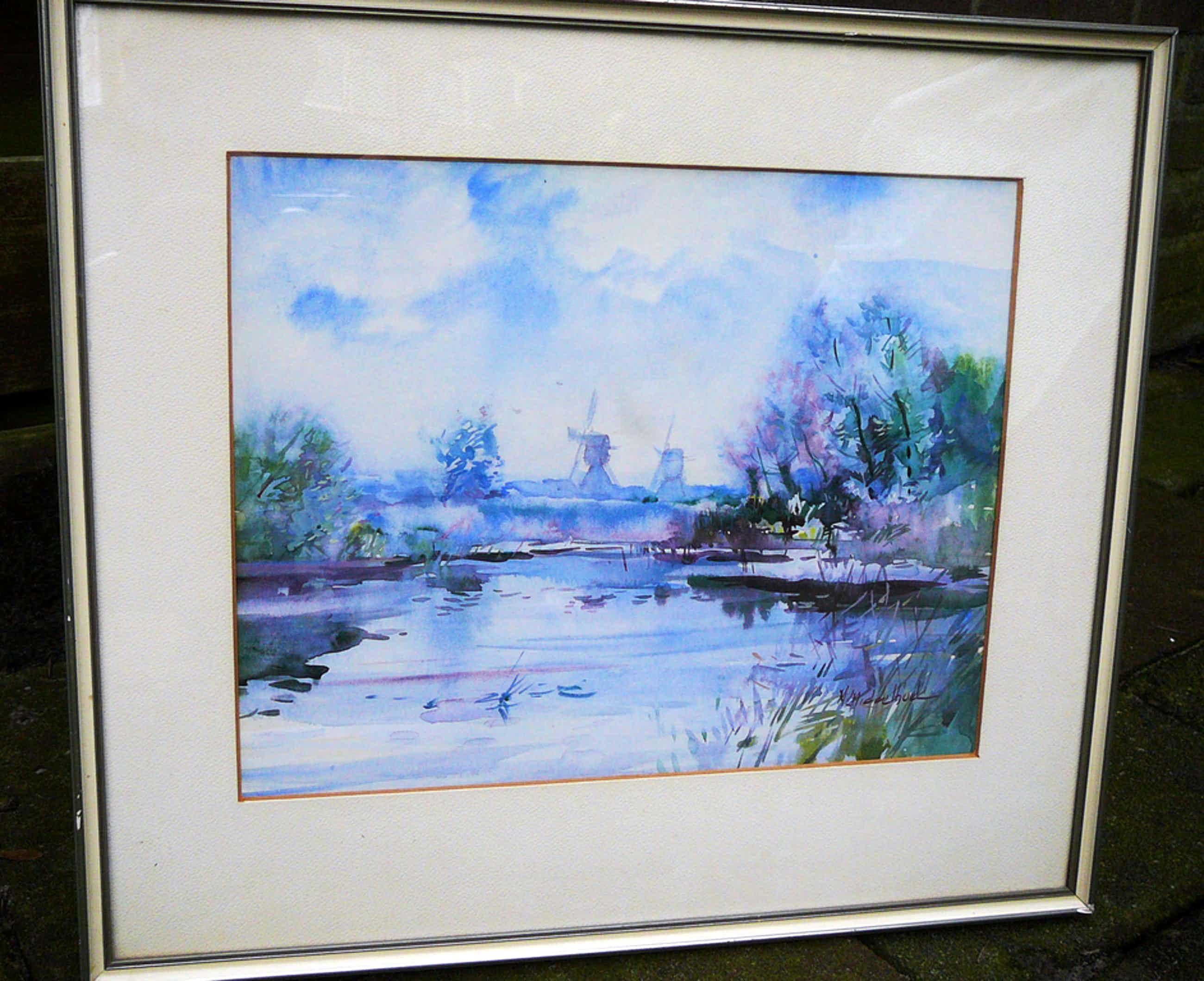 Martinus Middelhoek: Hollands Landschap -aquarel- kopen? Bied vanaf 90!