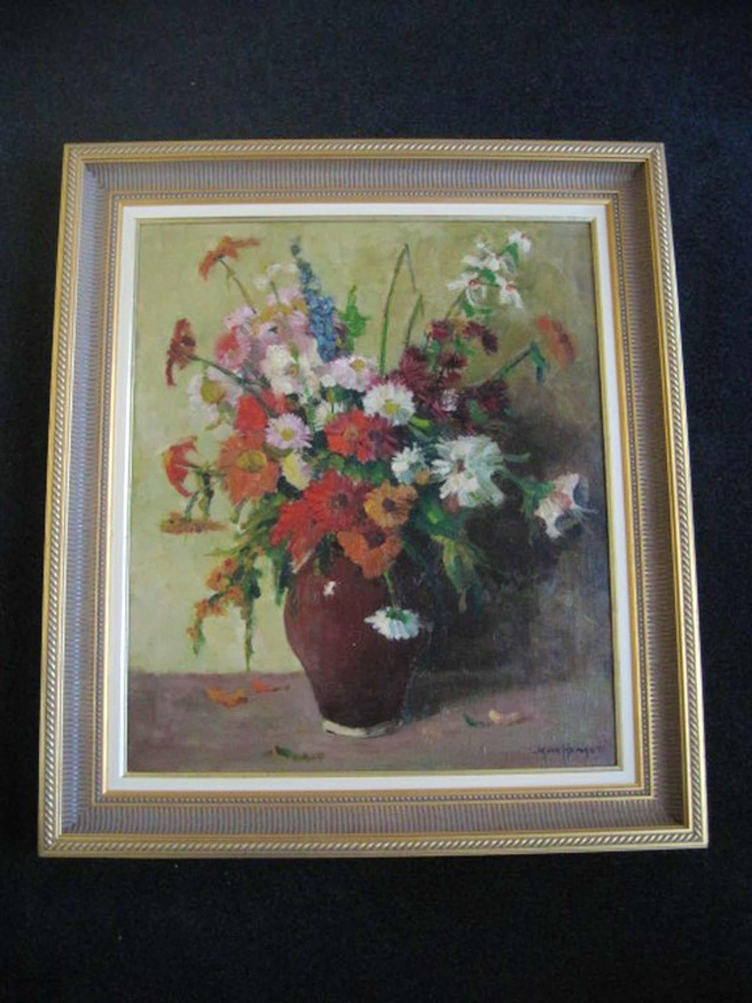 Imponerend en GROOT bloemenstilleven olieverf/doek Jan den Hengst 1904-1983 kopen? Bied vanaf 95!
