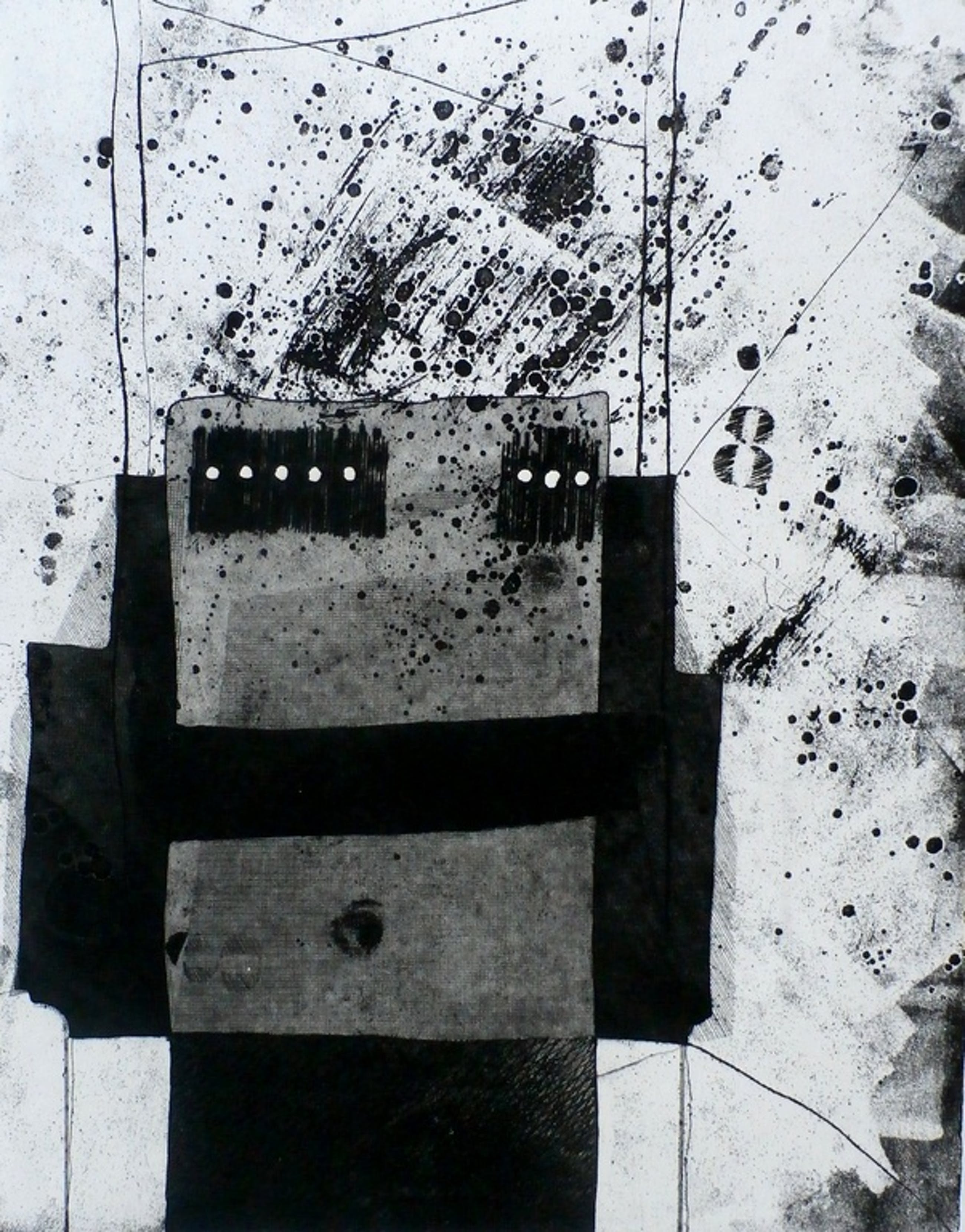 Jan Naezer - abstracte ets - 1980 kopen? Bied vanaf 20!