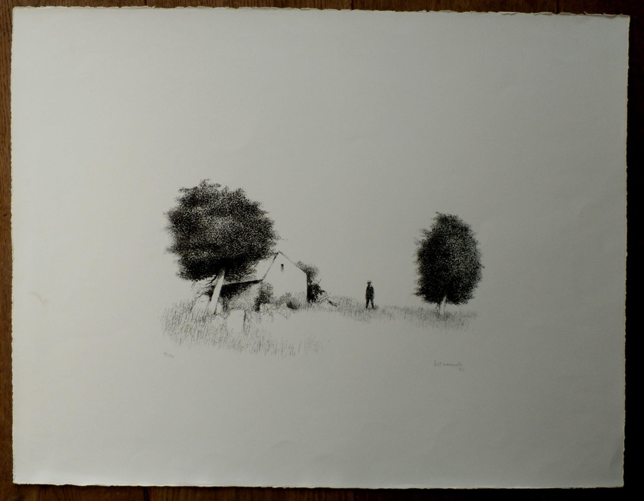 Metten Koornstra, Man in landschap tussen huis en bomen, 1971, handgesigneerd kopen? Bied vanaf 85!