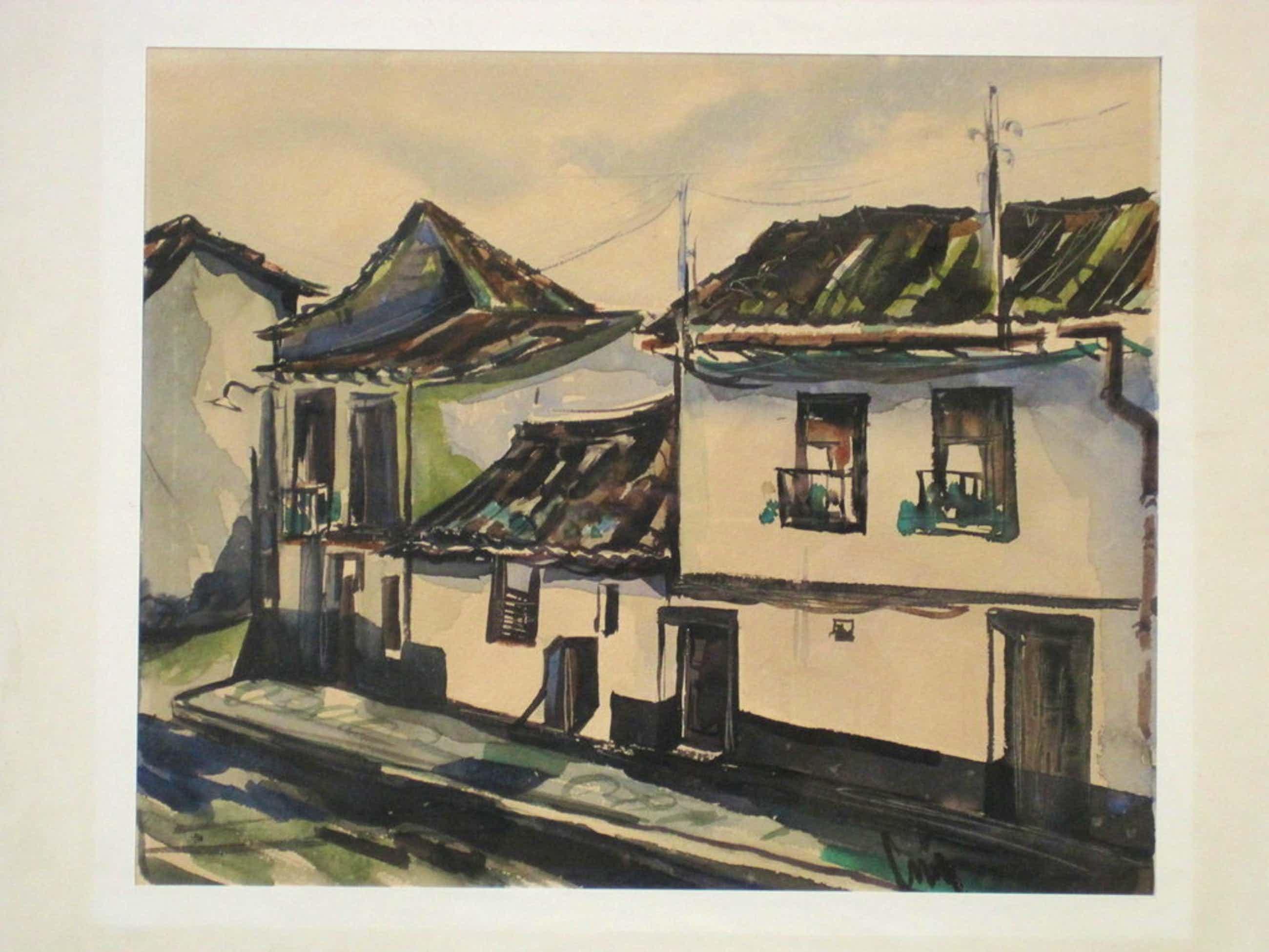 "Jaap Min Bergense School aquarel ""dorpsstraat"" omstreeks 1950 kopen? Bied vanaf 80!"