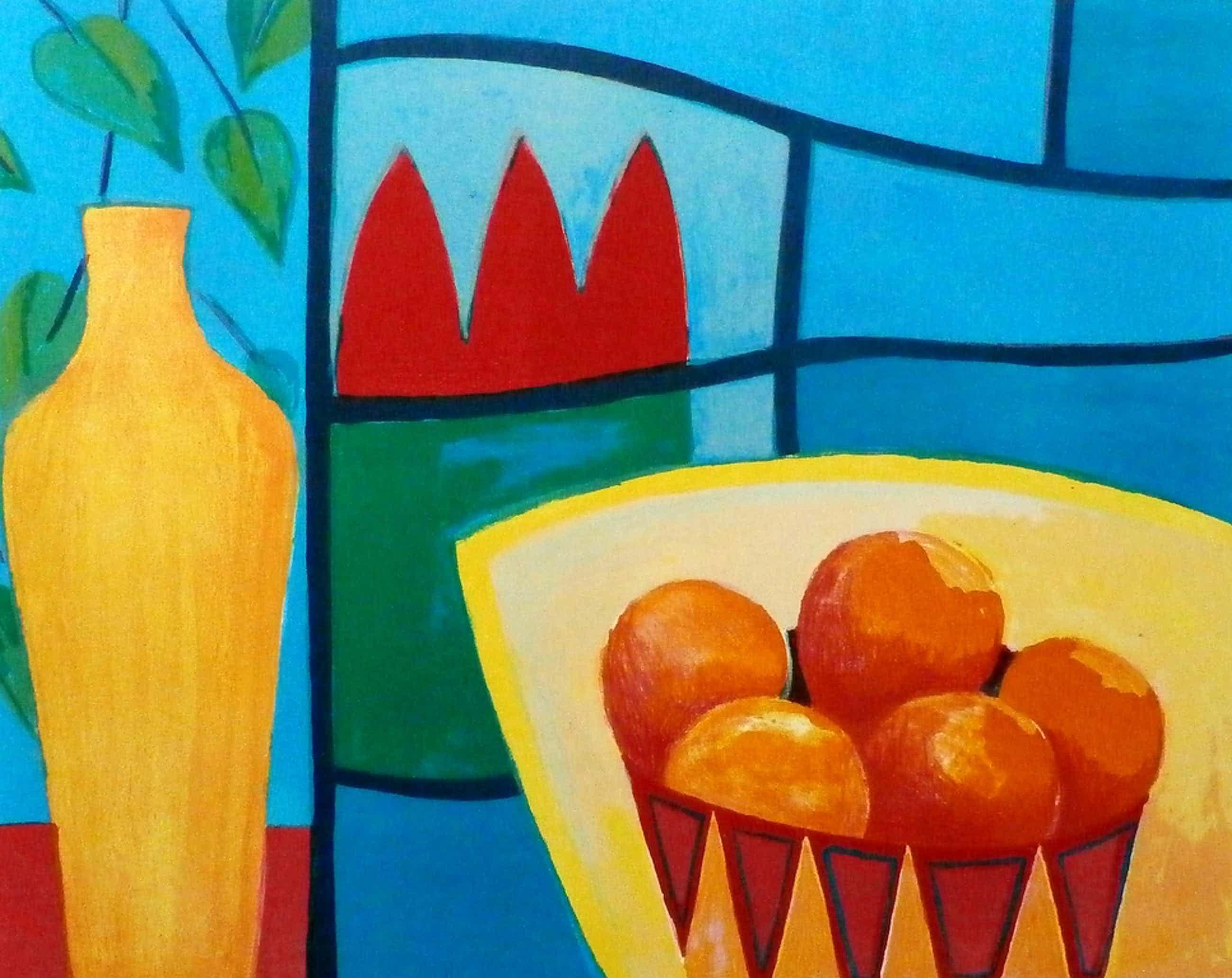 Fenneke van der Elst - zeefdruk:  Stilleven met kruik en sinaasappels - 1996 kopen? Bied vanaf 39!