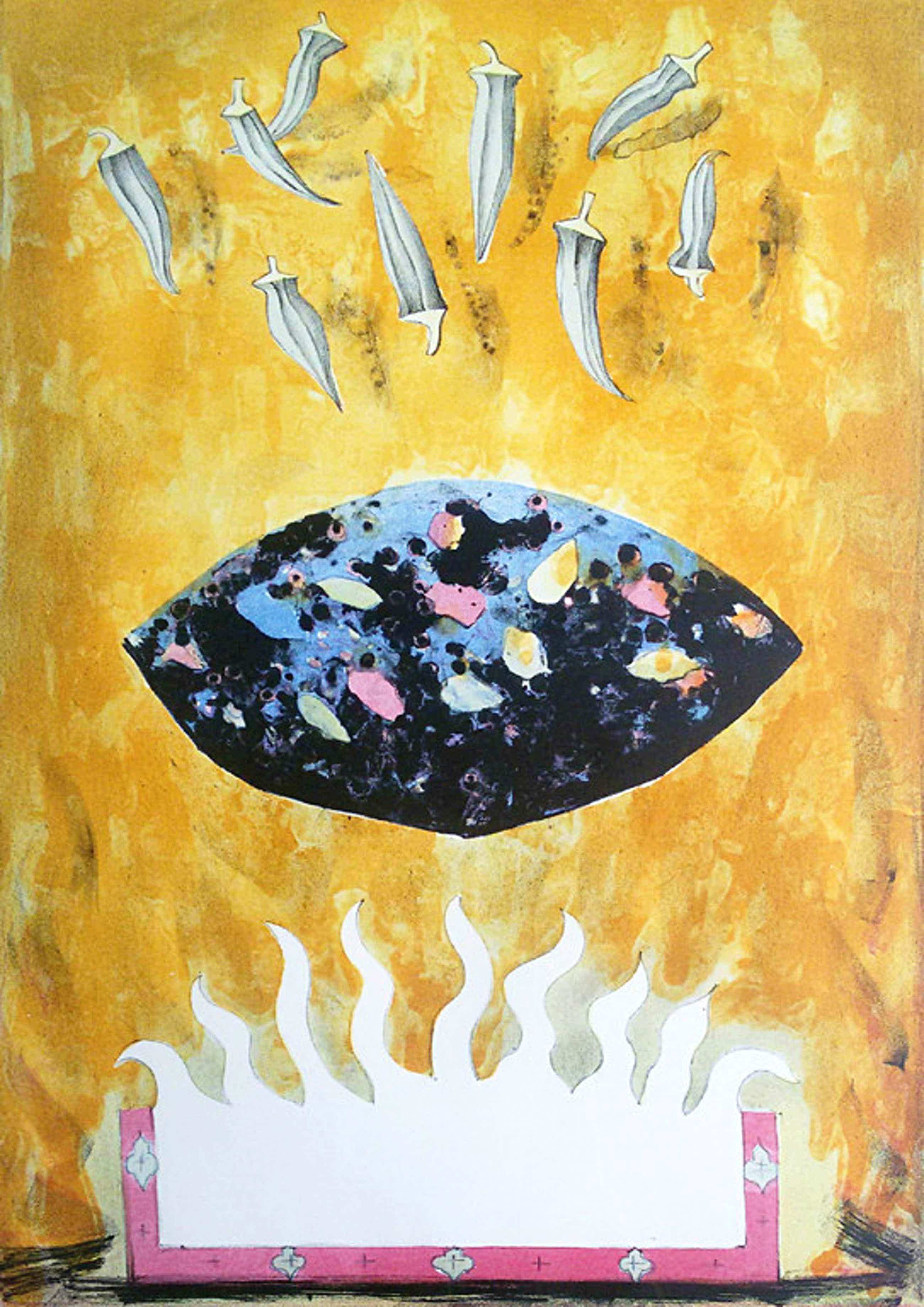 Lon Buttstedt - Fire, sacred stone, nine okra's, litho (mooi ingelijst, groot) kopen? Bied vanaf 50!