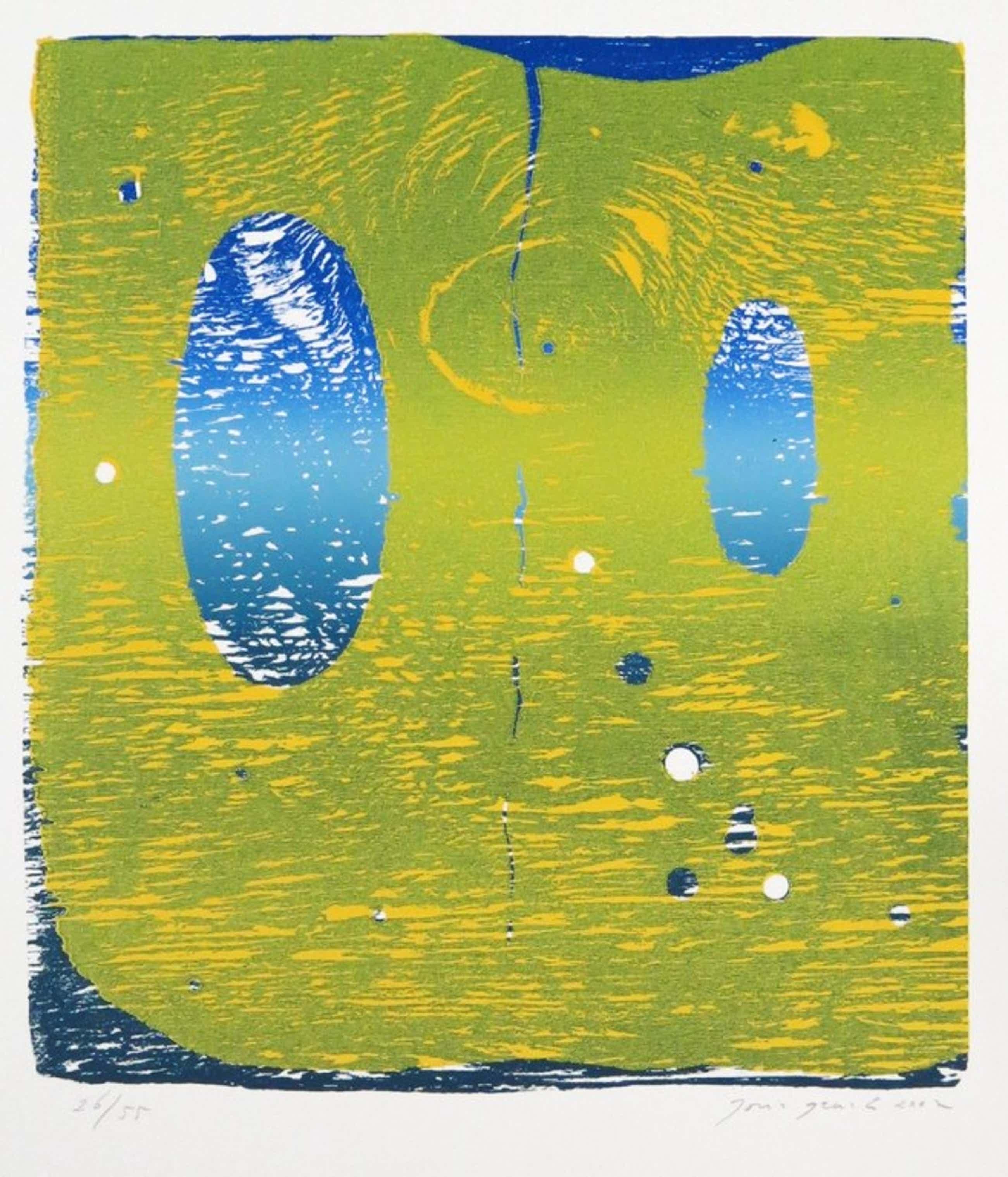 Joris Geurts: Houtsnede, Zonder titel (geel/blauw) kopen? Bied vanaf 38!