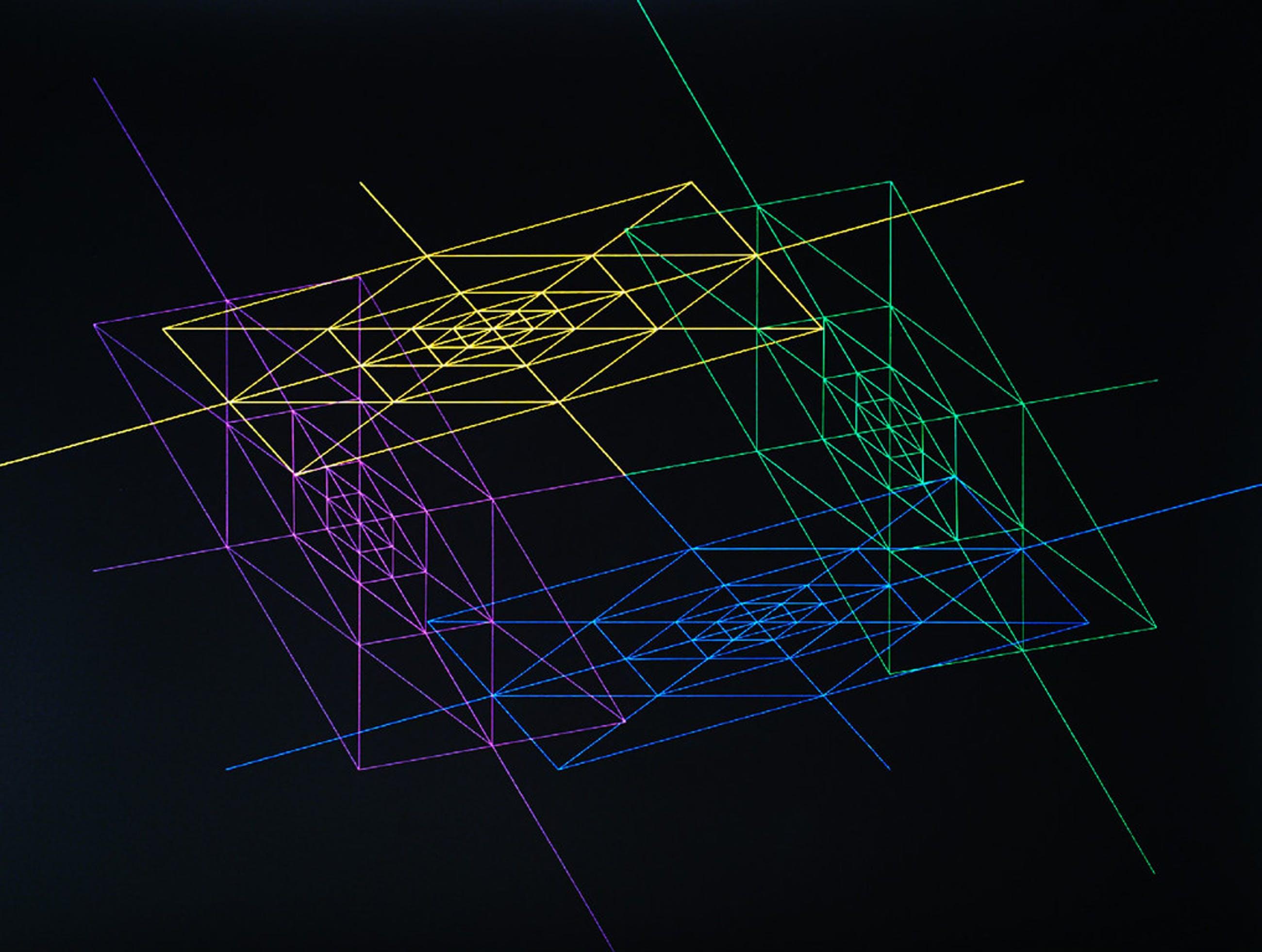 Karel Novosad - Geometrisch abstract, zeefdruk op wit plastic kopen? Bied vanaf 80!