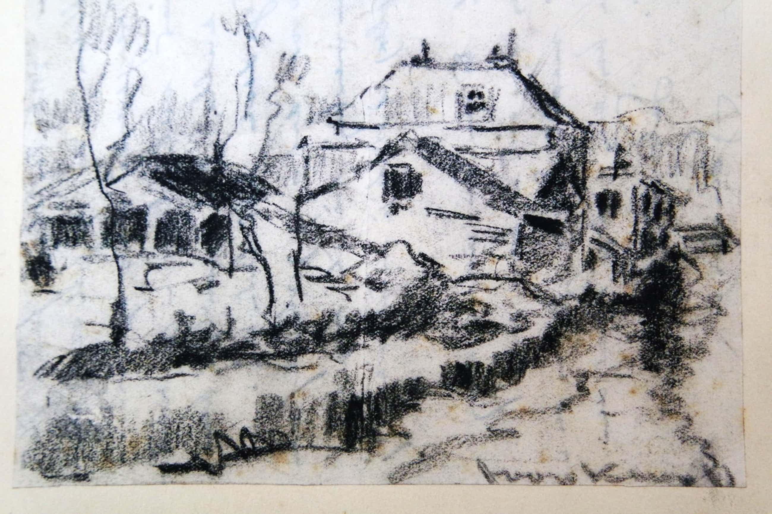 Joop Kropff (1892-1979) - houtskool tekening - boerderijgezicht kopen? Bied vanaf 35!
