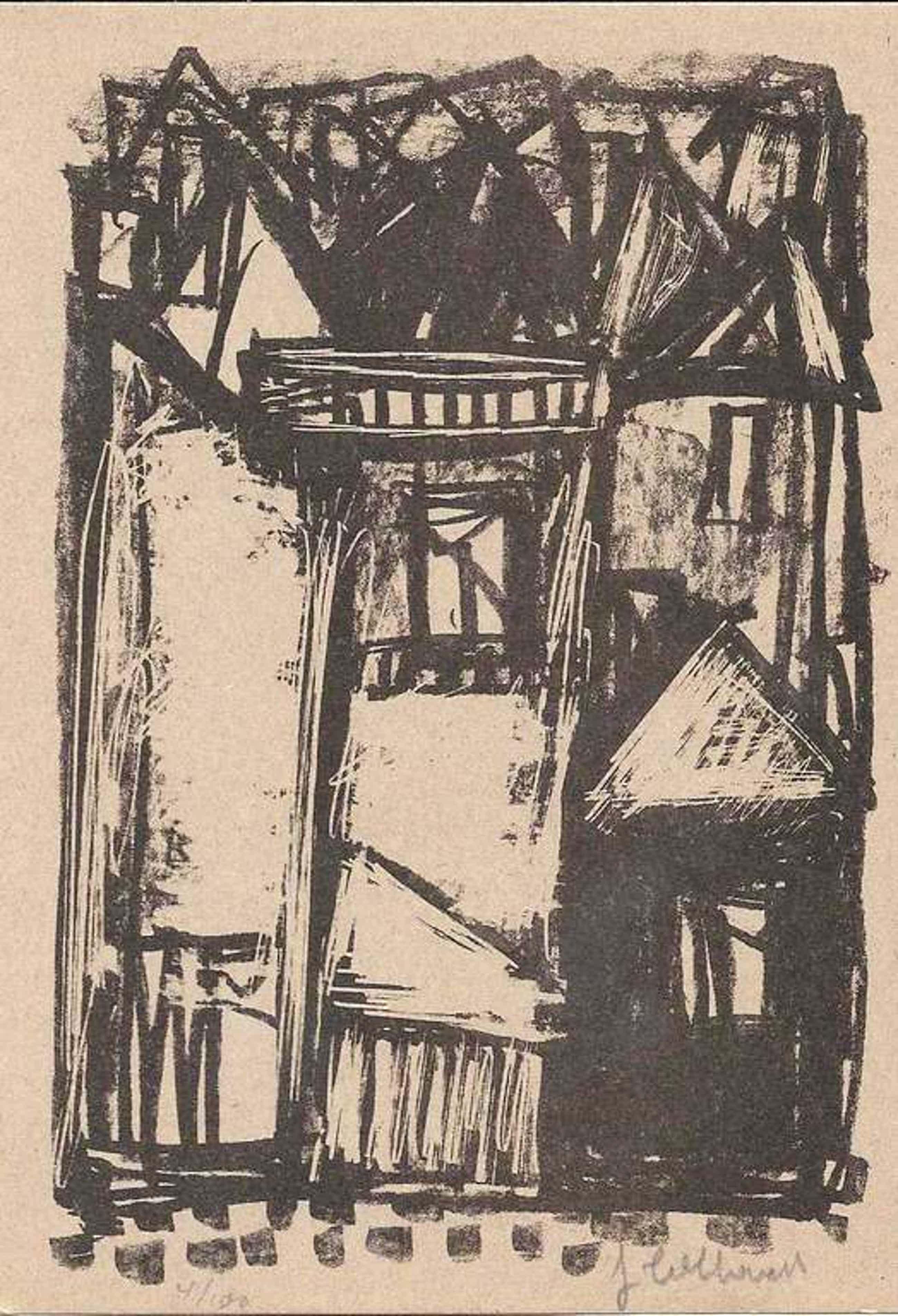 Jan Cobbaert: compositie 1 (litho uit 1952) kopen? Bied vanaf 35!