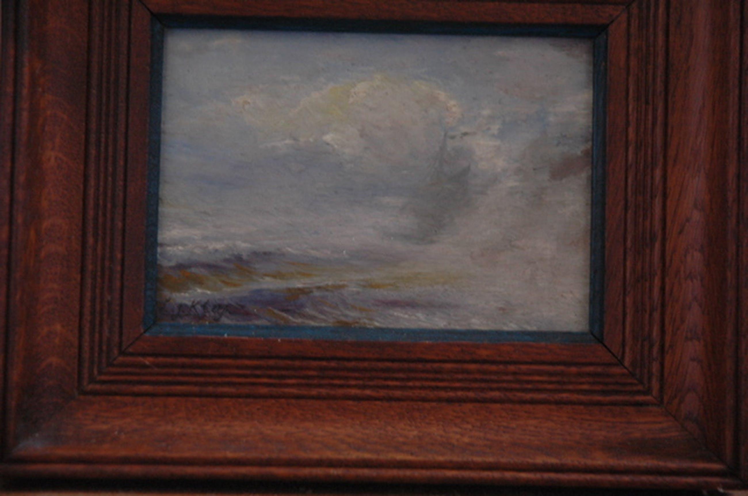 Twee kleine maritieme schilderijtjes (zeezichten met schip) kopen? Bied vanaf 75!