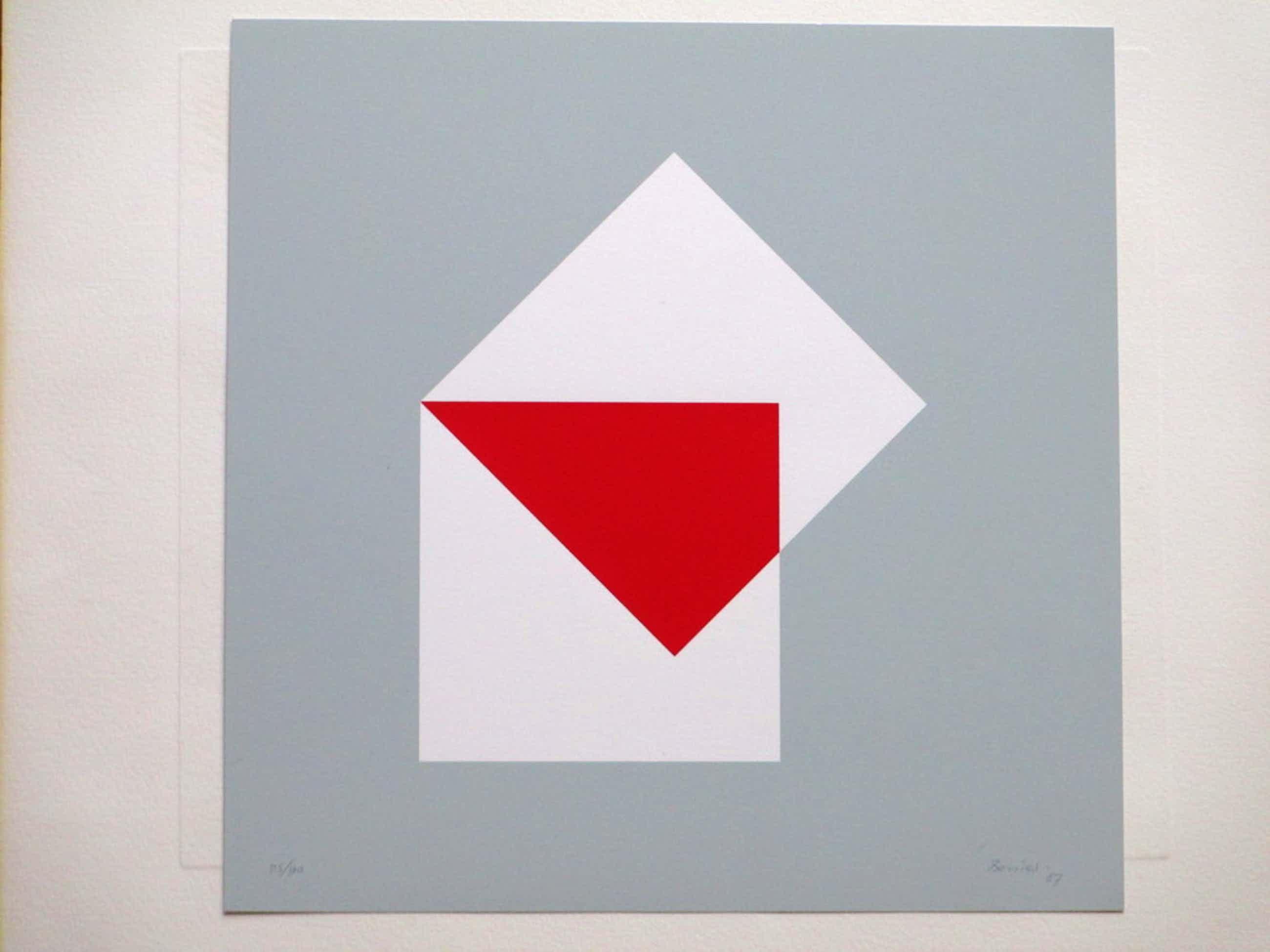 Bob Bonies, Geometrische Compositie in rood/wit, Zeefdruk kopen? Bied vanaf 50!