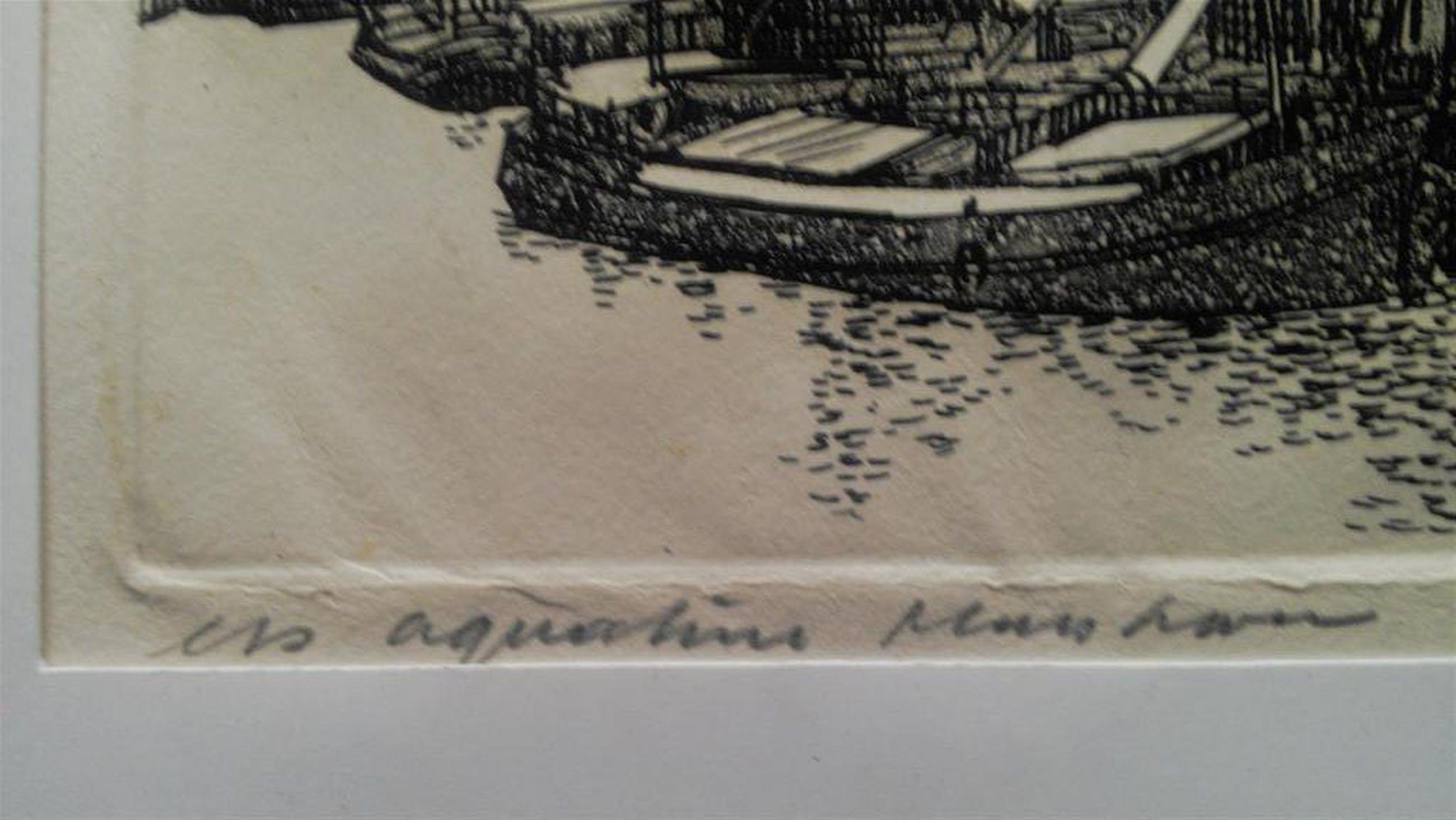 Ets aquatint Maashaven gesigneerd en gedateerd '71 kopen? Bied vanaf 21!