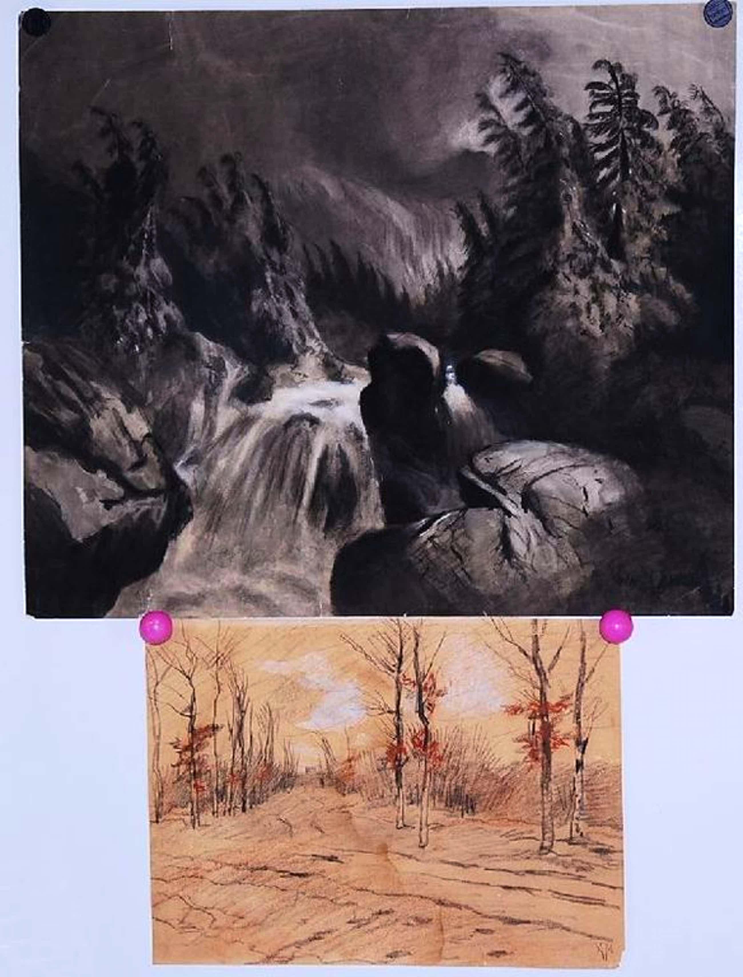Anton Mauve: 2 tekeningen. Berglandschap + Bospad kopen? Bied vanaf 70!