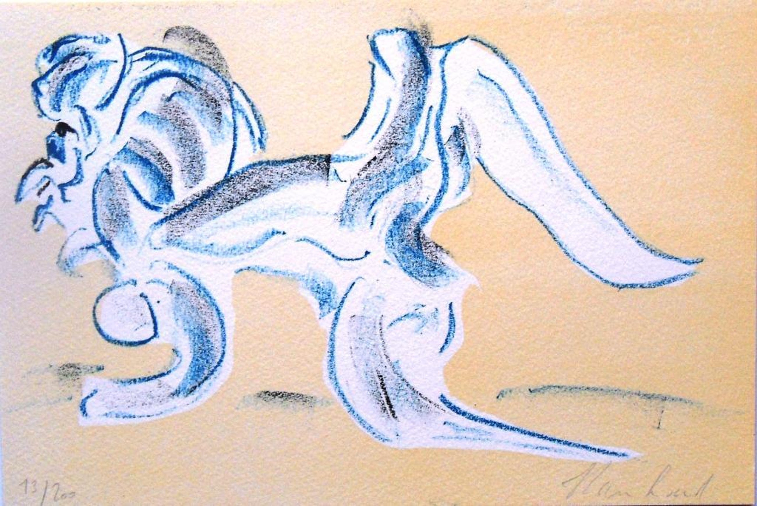 Reinhoud : figuur in blauw (mooie lithografie) kopen? Bied vanaf 1!