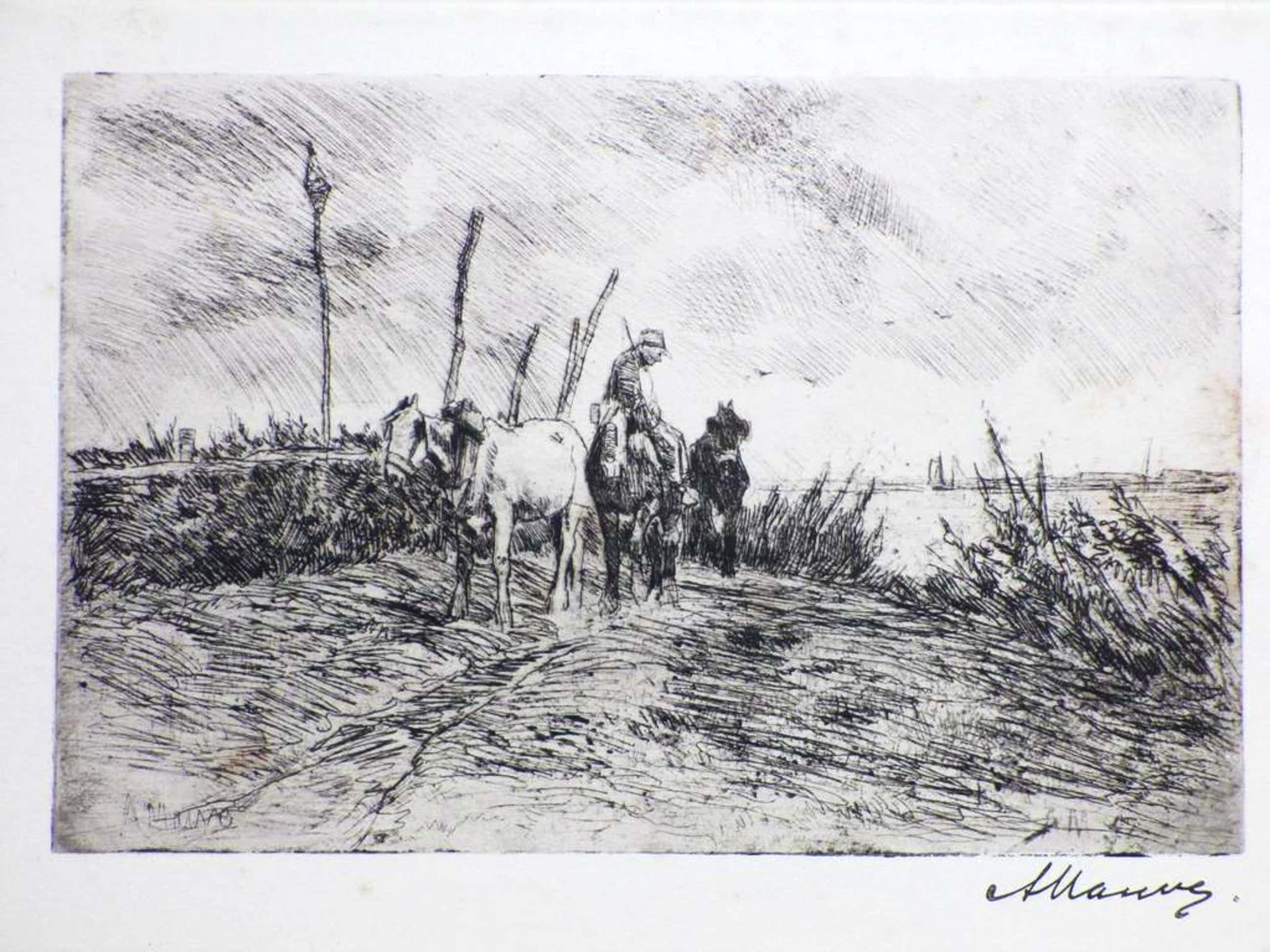 Anton Mauve, Schuitenjager met paarden, Ets kopen? Bied vanaf 45!