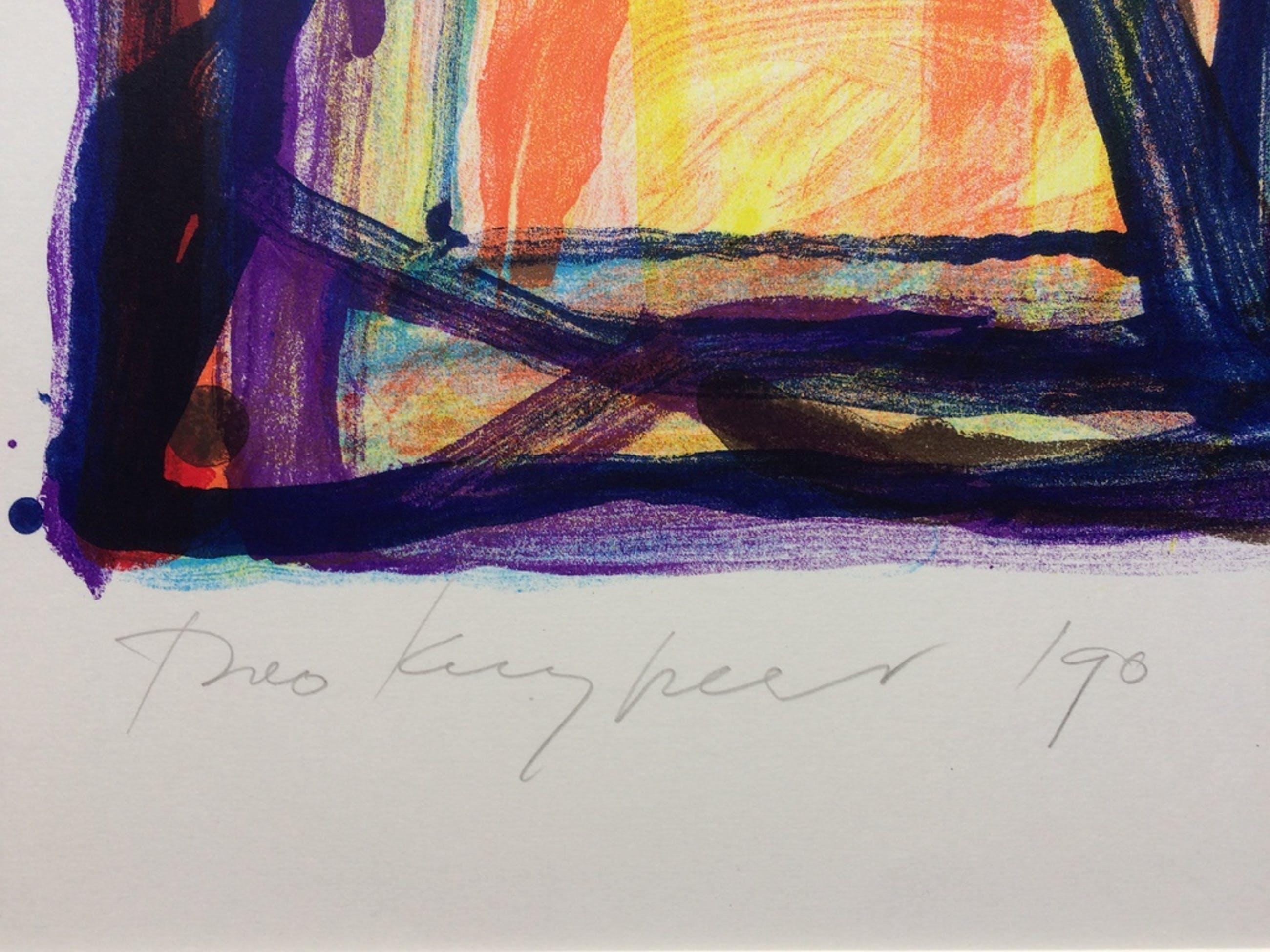 Theo Kuijpers, zeer kleurrijke lithografie, gesigneerd en '90 en 'proefdruk'. kopen? Bied vanaf 75!