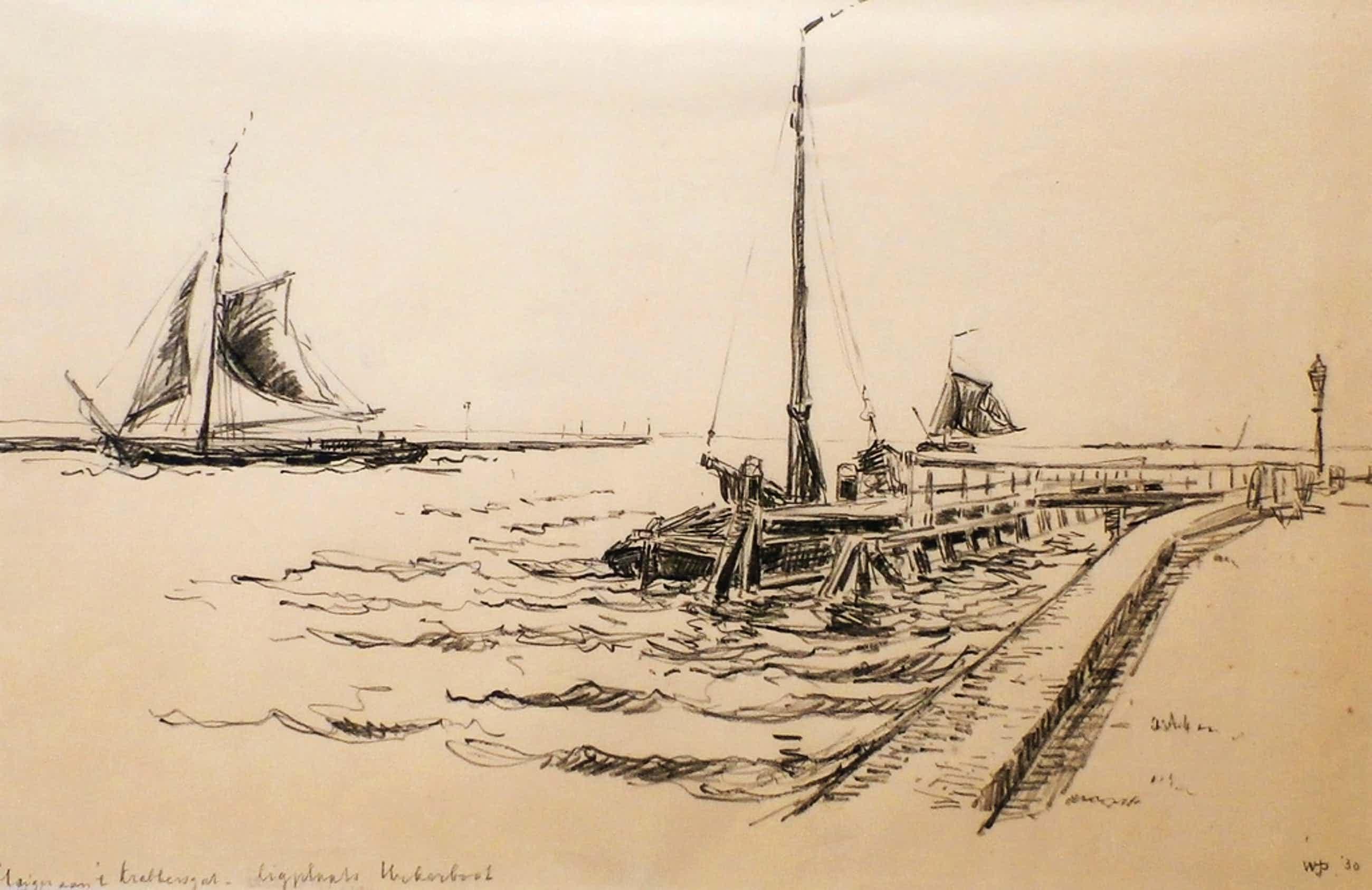 Willem Jans Dijk - tekening: Steiger aan 't krabbersgat - ligplaats Urkerboot kopen? Bied vanaf 55!