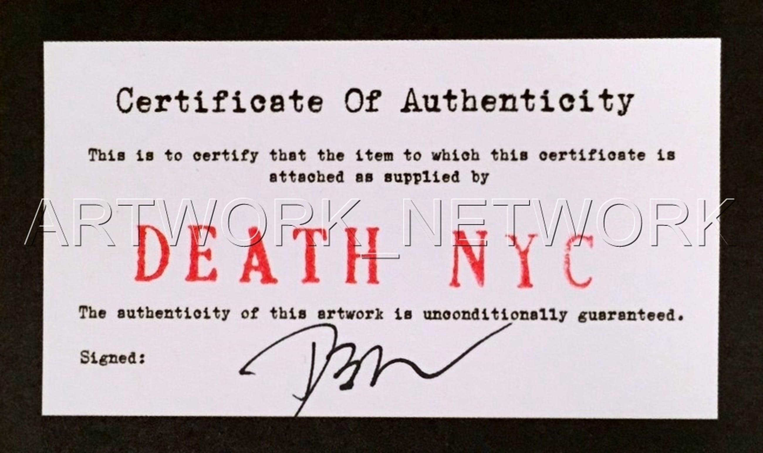 """DEATH NYC """"Gun W"""" - n° A/P - Signed with COA (Edition Artist Proof) kopen? Bied vanaf 1!"""