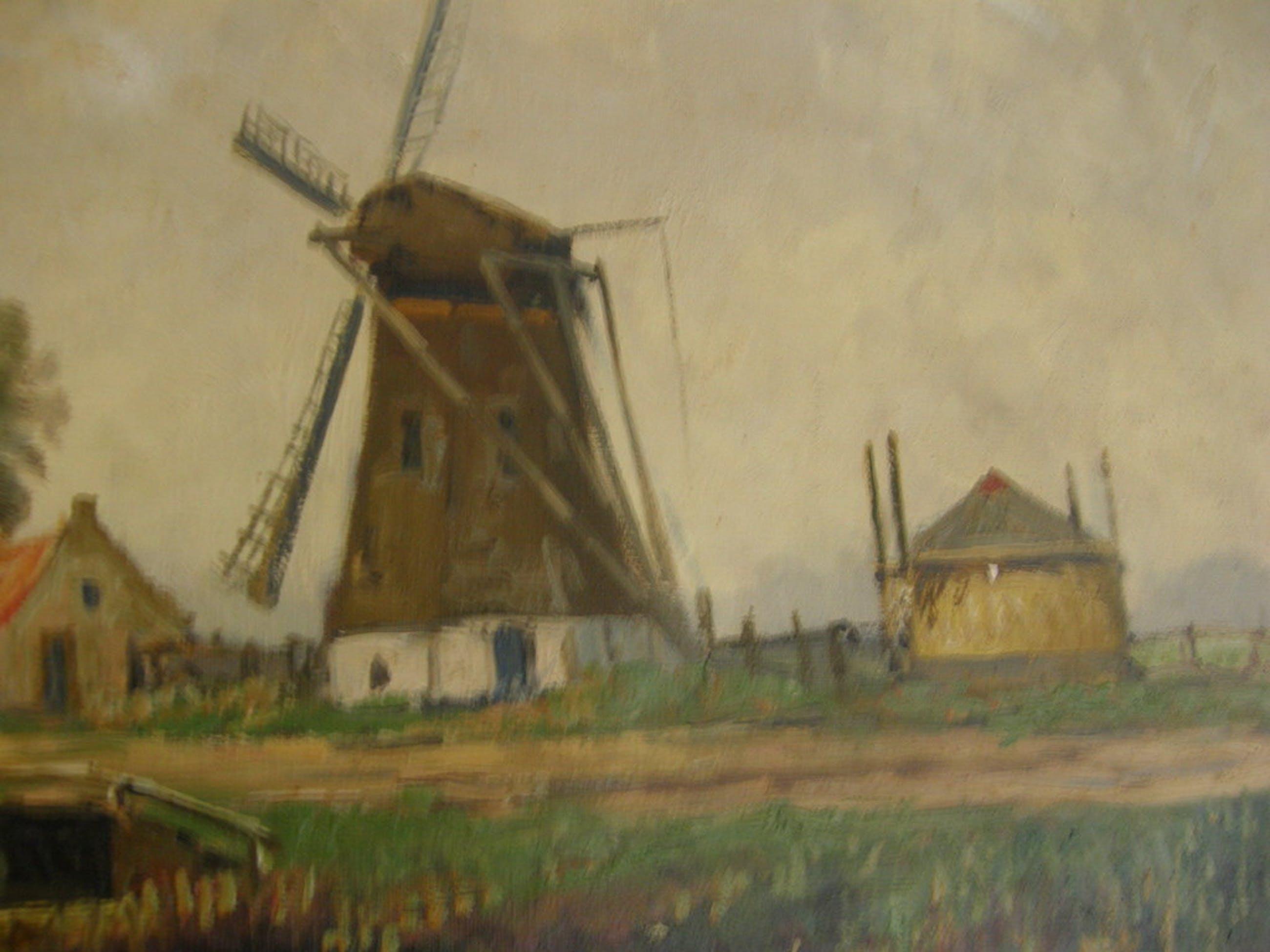 hollands landschap met molen en tjalken kopen? Bied vanaf 40!
