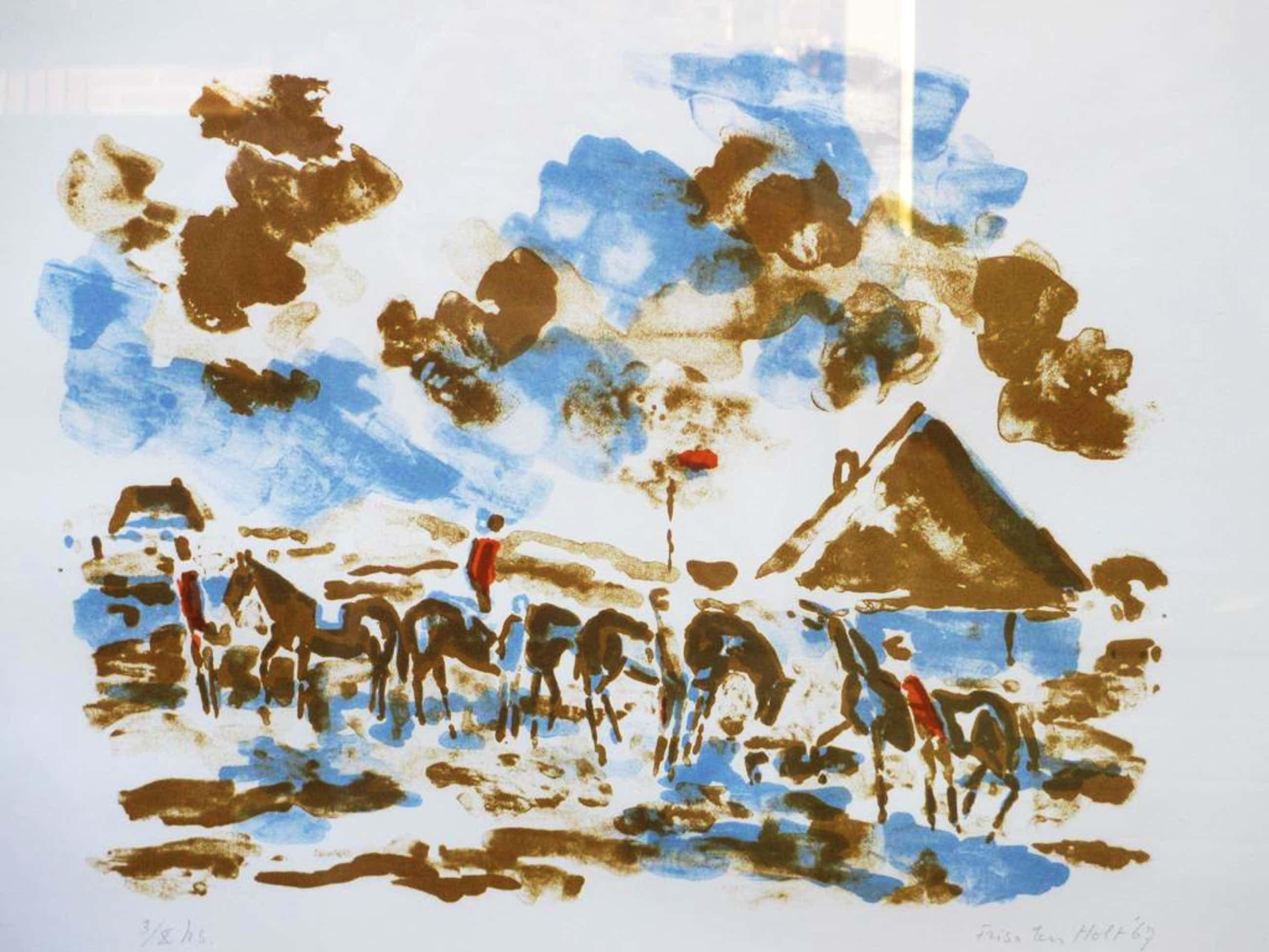 Friso ten Holt, Ruiters in Noord-Hollands landschap, Kleurlitho kopen? Bied vanaf 150!