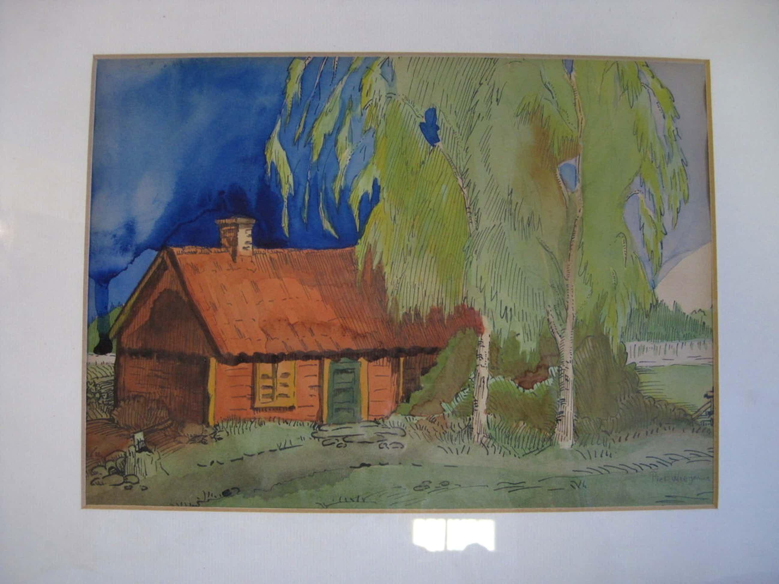 Piet Wiegman 1885-1963 aquarel landschap Bergense School  kopen? Bied vanaf 130!