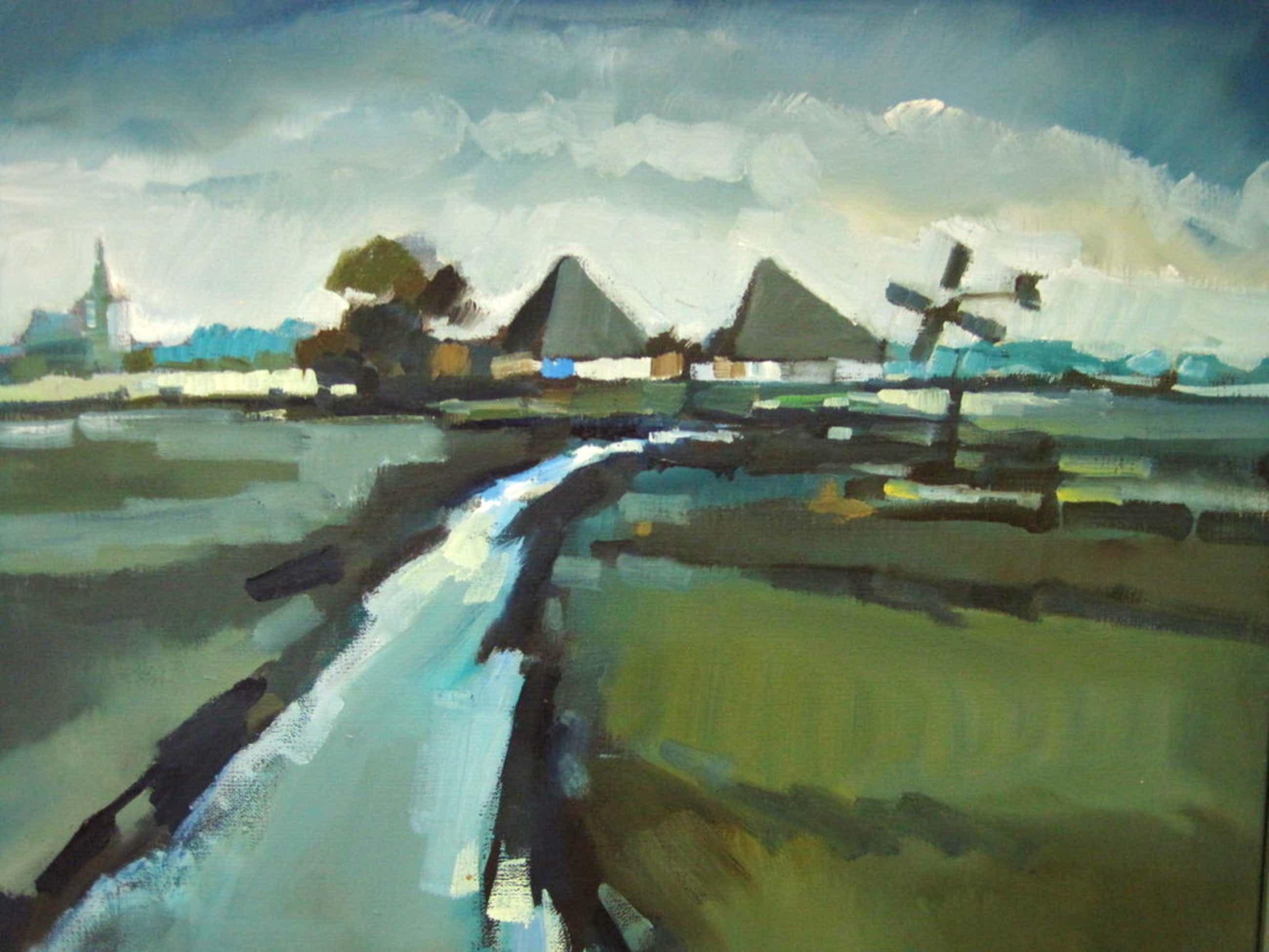 """Bob Immink  1930-1989 olieverf """"boerderijen in Noord Holland"""" ca 1970 gesigneerd kopen? Bied vanaf 205!"""