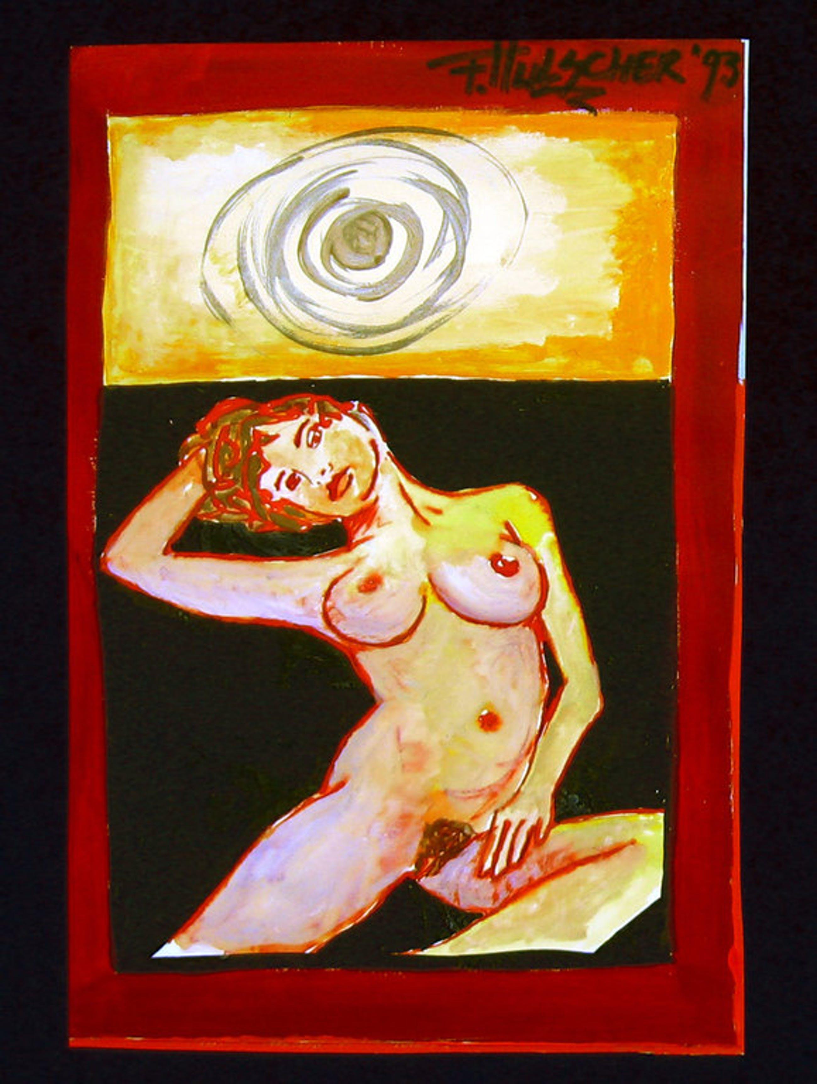 FRANK HULSCHER - Acryl op papier op karton, 1993 kopen? Bied vanaf 1!