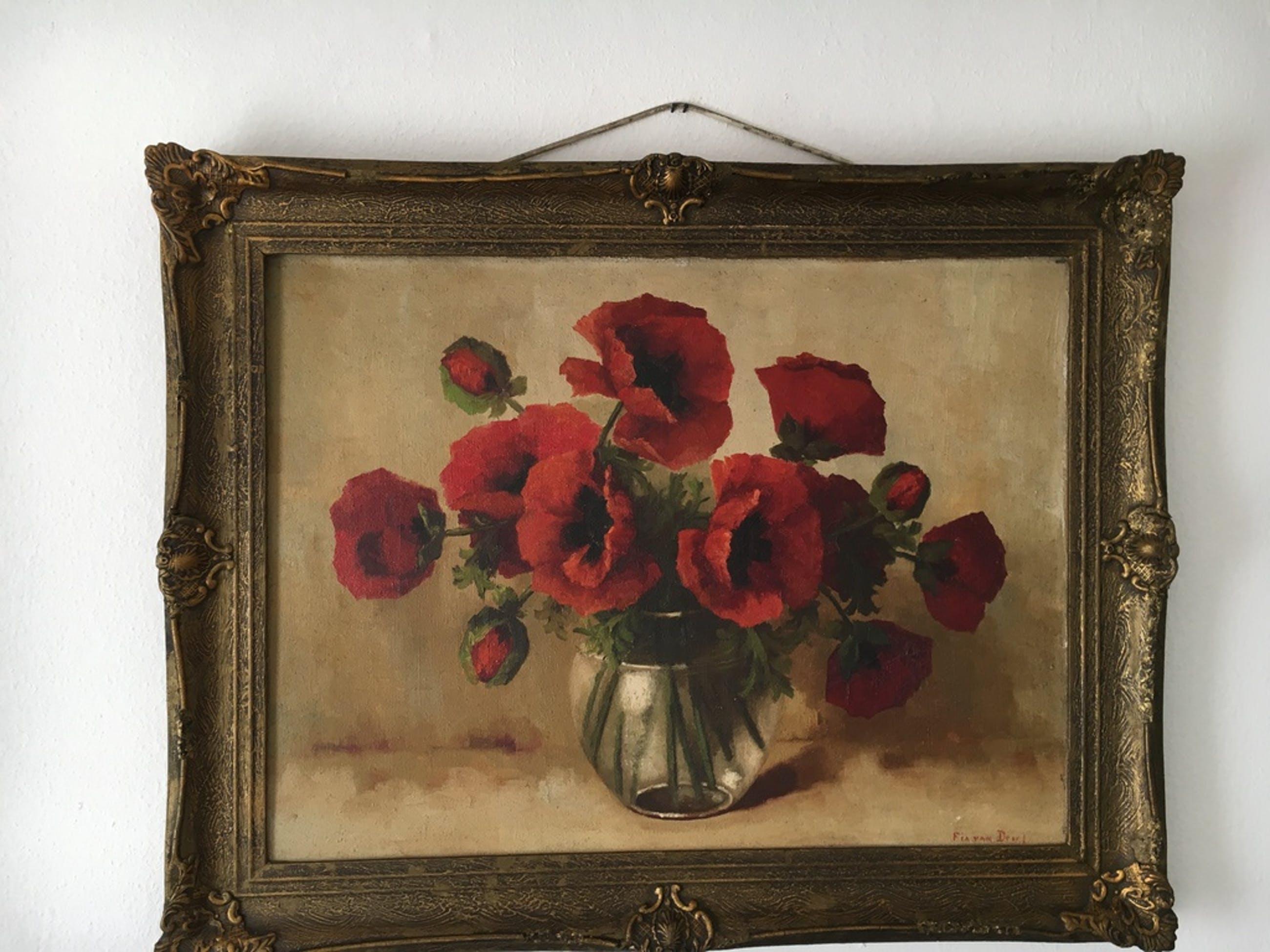 Fia van Driel  ,  Olieverf schilderij ,  Stil leven , Klaprozen in glazen pot    kopen? Bied vanaf 1000!