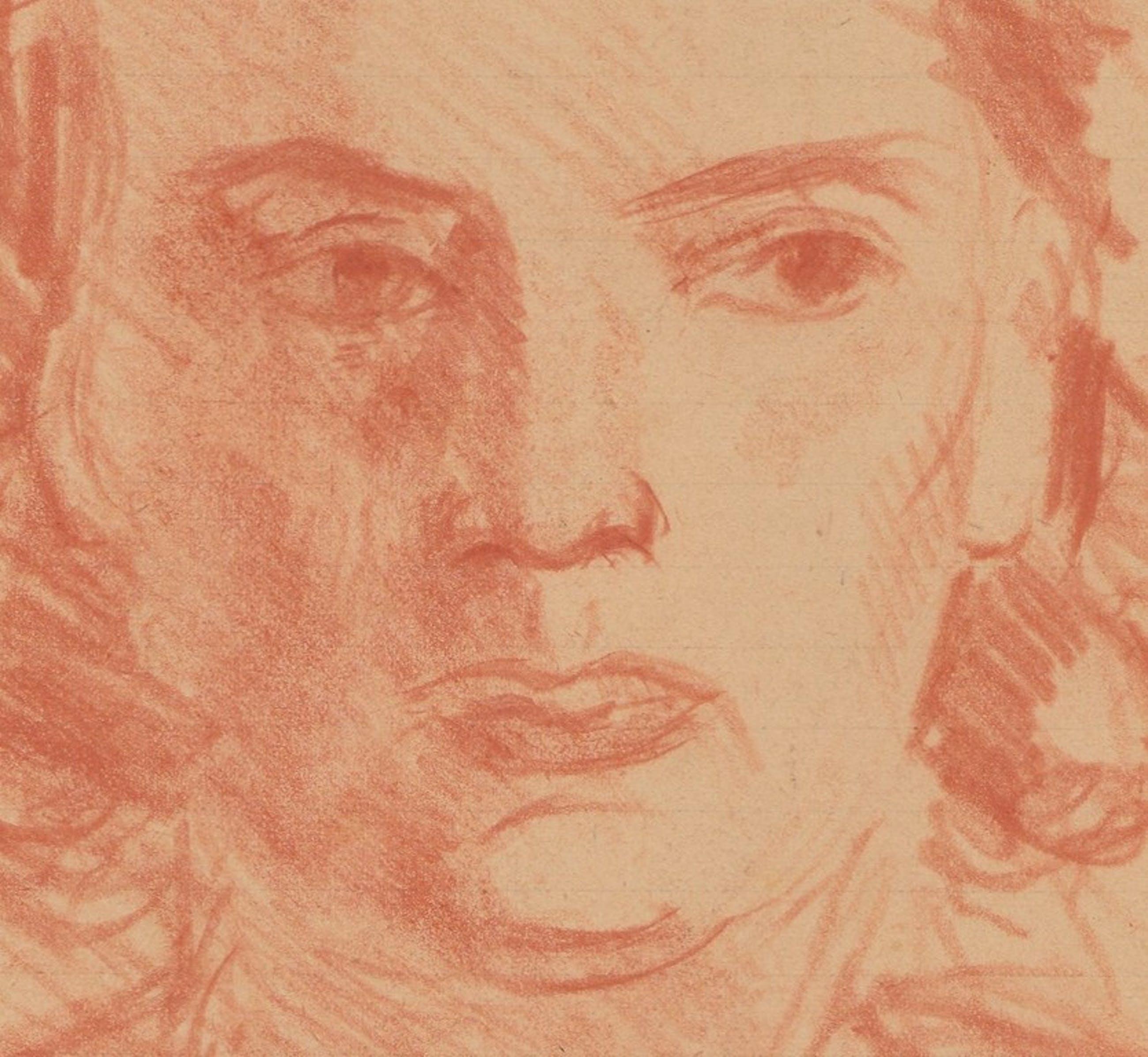Louis Henno: Portret, Rood Krijt op papier, 1941 kopen? Bied vanaf 1!