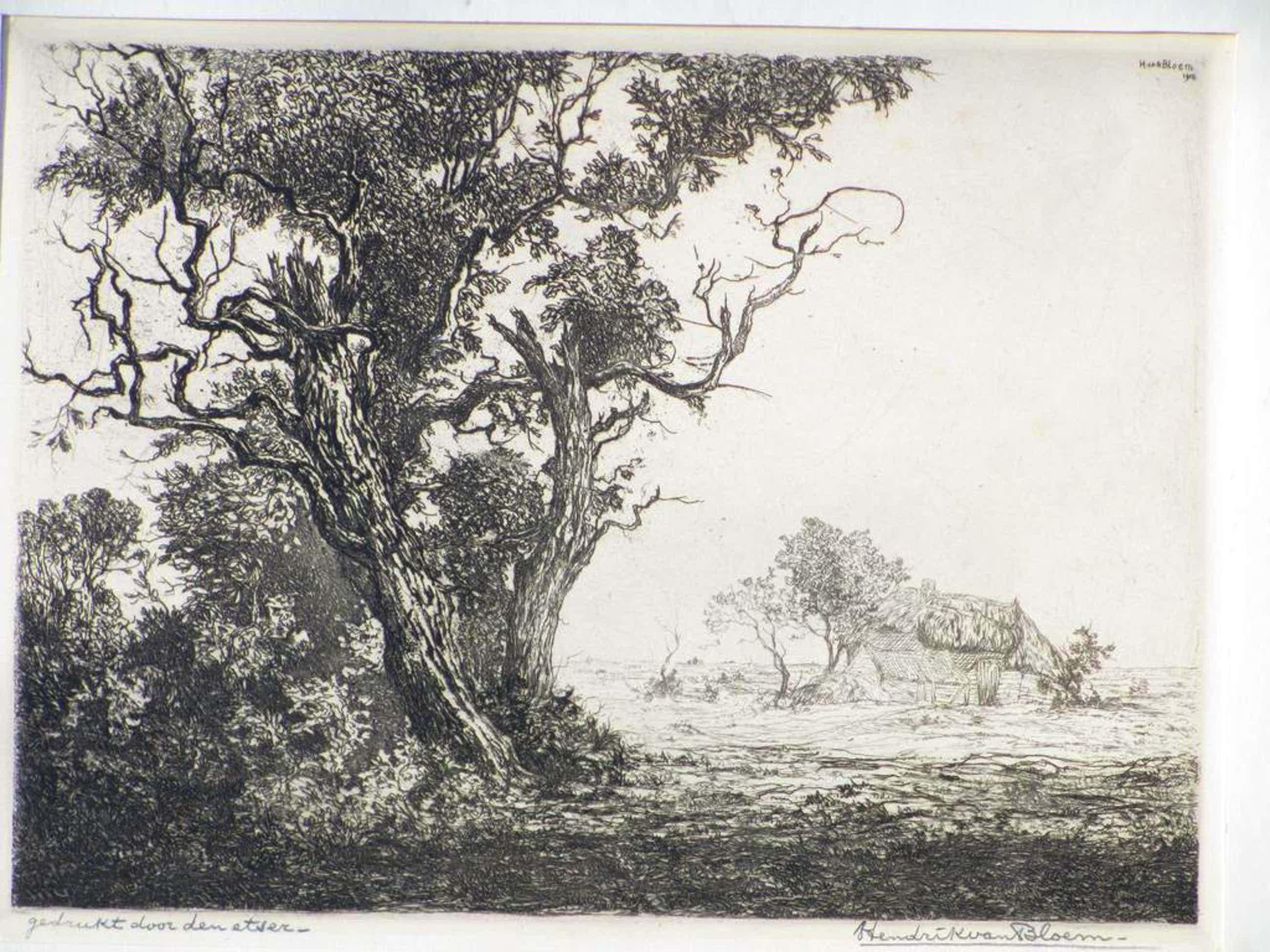 Hendrik van Bloem, Hut in heidelandschap, Ets kopen? Bied vanaf 45!