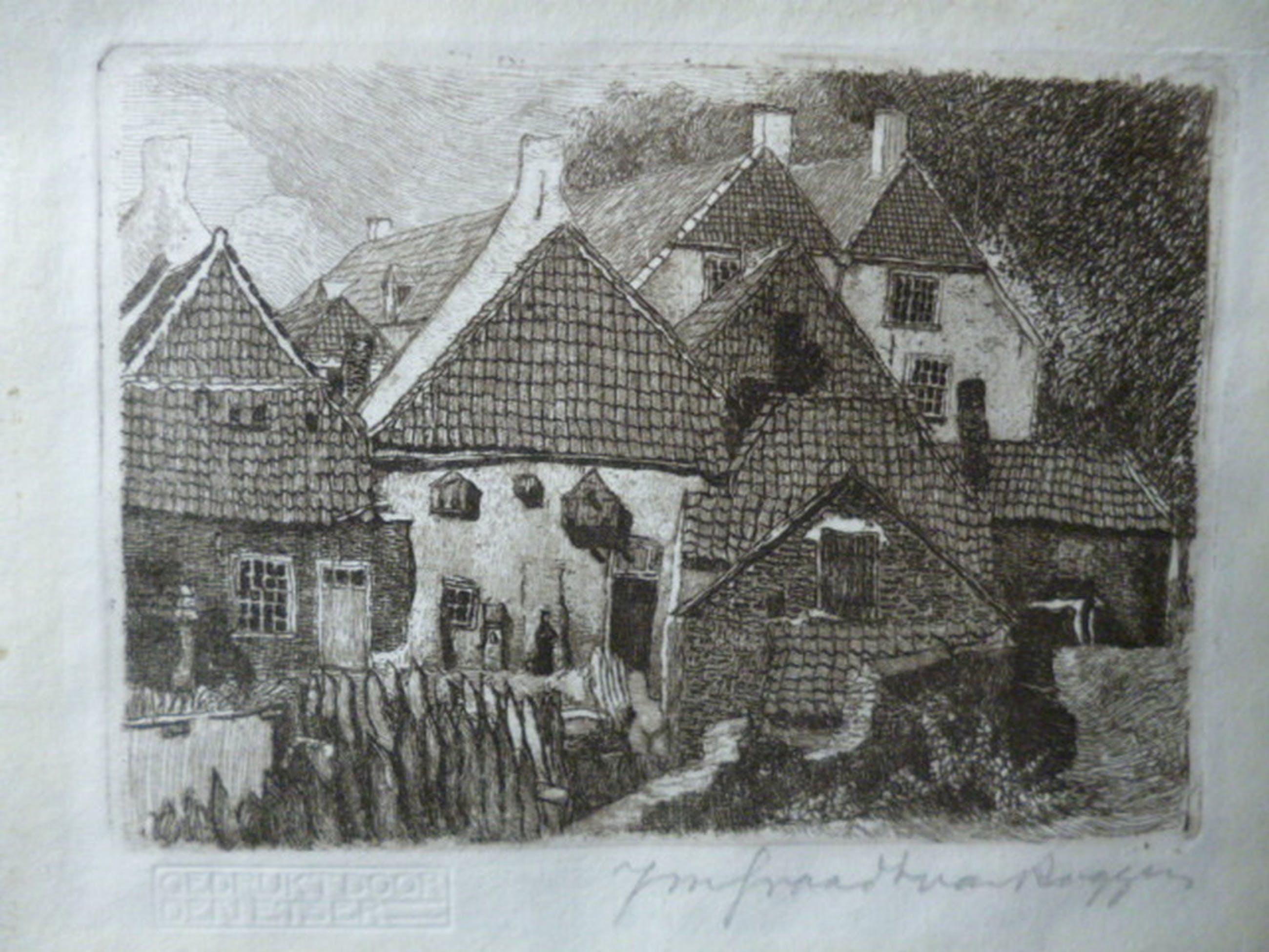 Johannes Graadt van Roggen - ets - Oude kazerne Grave kopen? Bied vanaf 45!