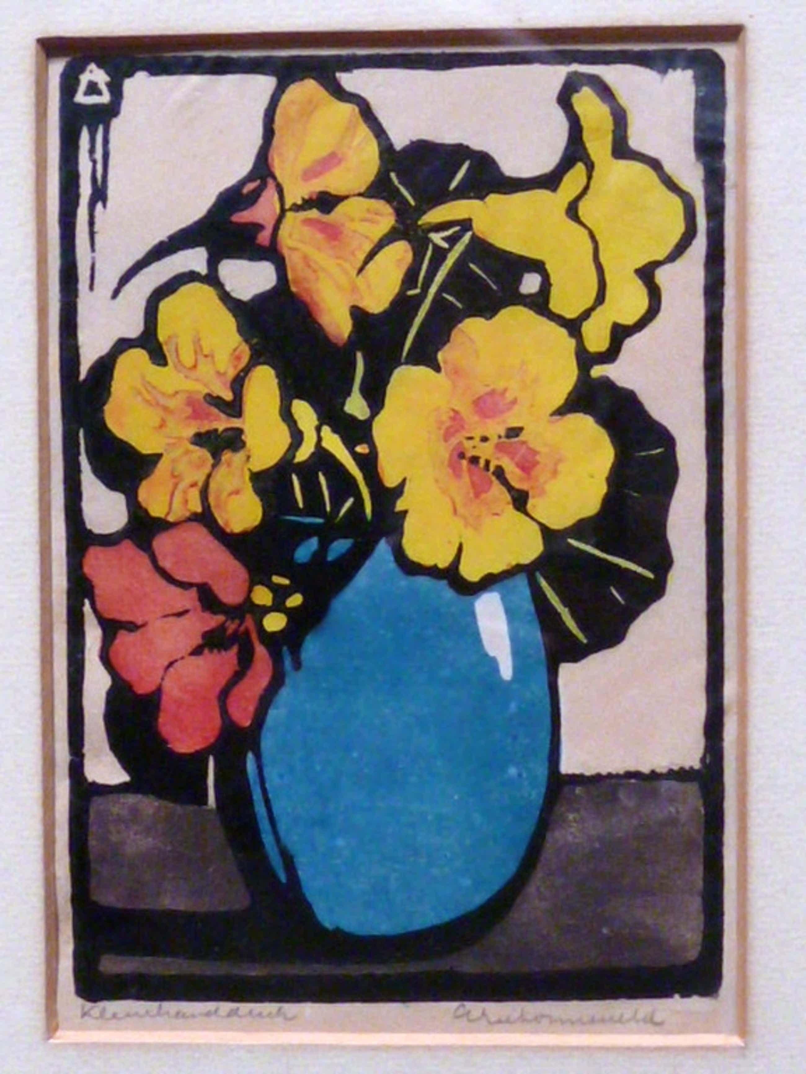 Arie Zonneveld - kleurenhoutsnede - Bloemen in blauwe vaas kopen? Bied vanaf 345!