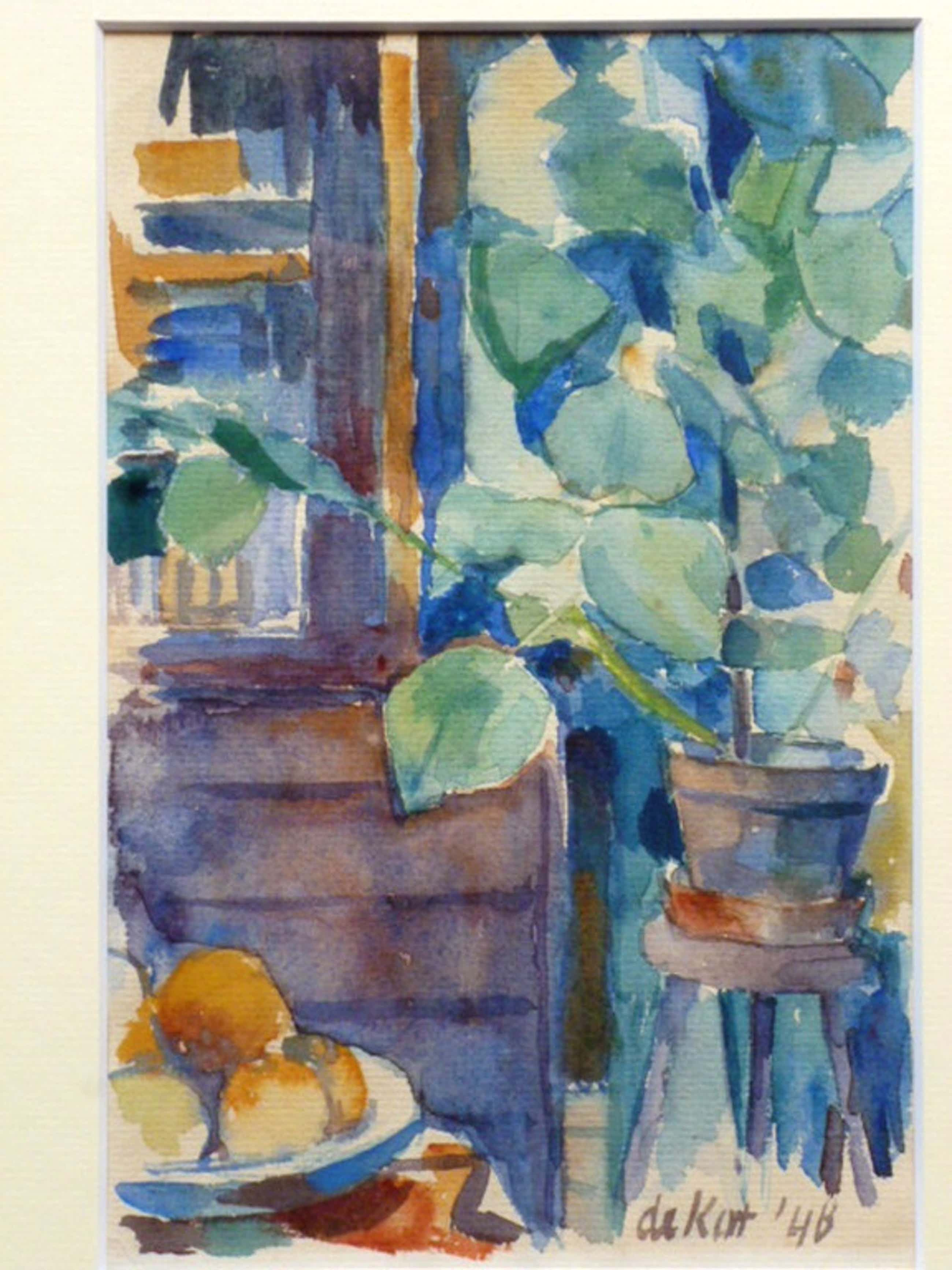 Otto B. de Kat - Otto B. de Kat - aquarel - Interieur met plant en fruitschaal kopen? Bied vanaf 245!
