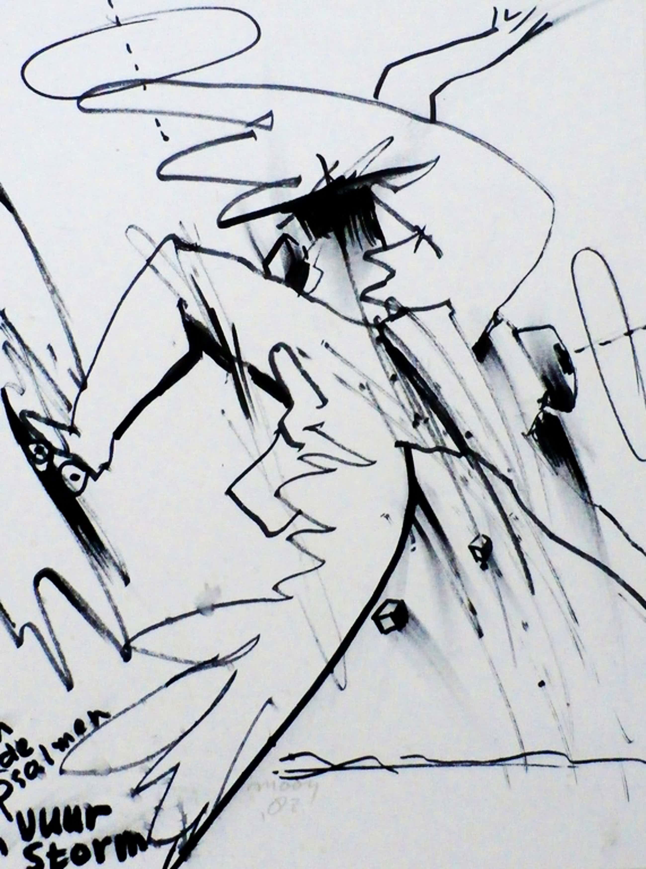 Jaap Mooy - tekening: Figuur met tekst - 1982 kopen? Bied vanaf 180!