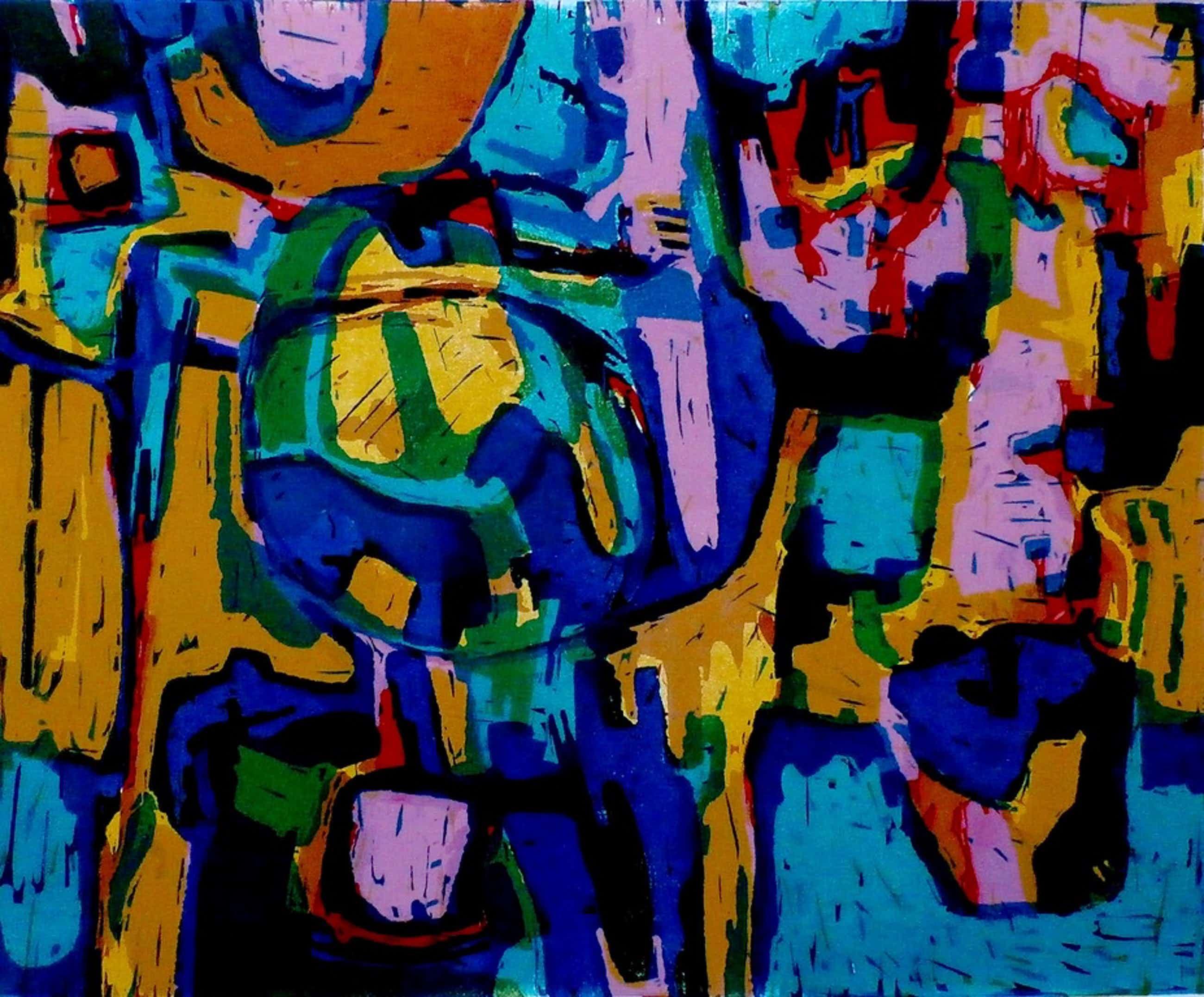 Jan Battermann - abstracte linogravure - 1971 kopen? Bied vanaf 60!