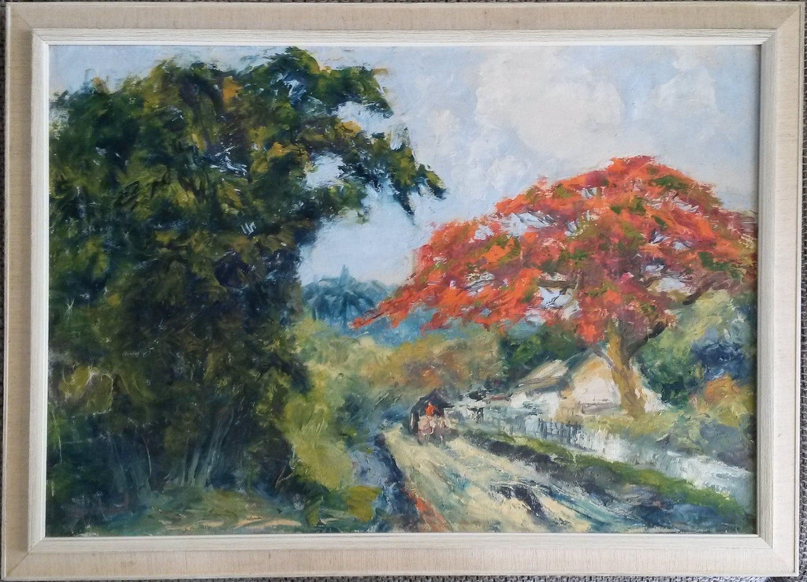 Sujatno Koempoel (1912-1987) - Ossenkar op landweggetje bij het  Arjuna gebergte kopen? Bied vanaf 75!