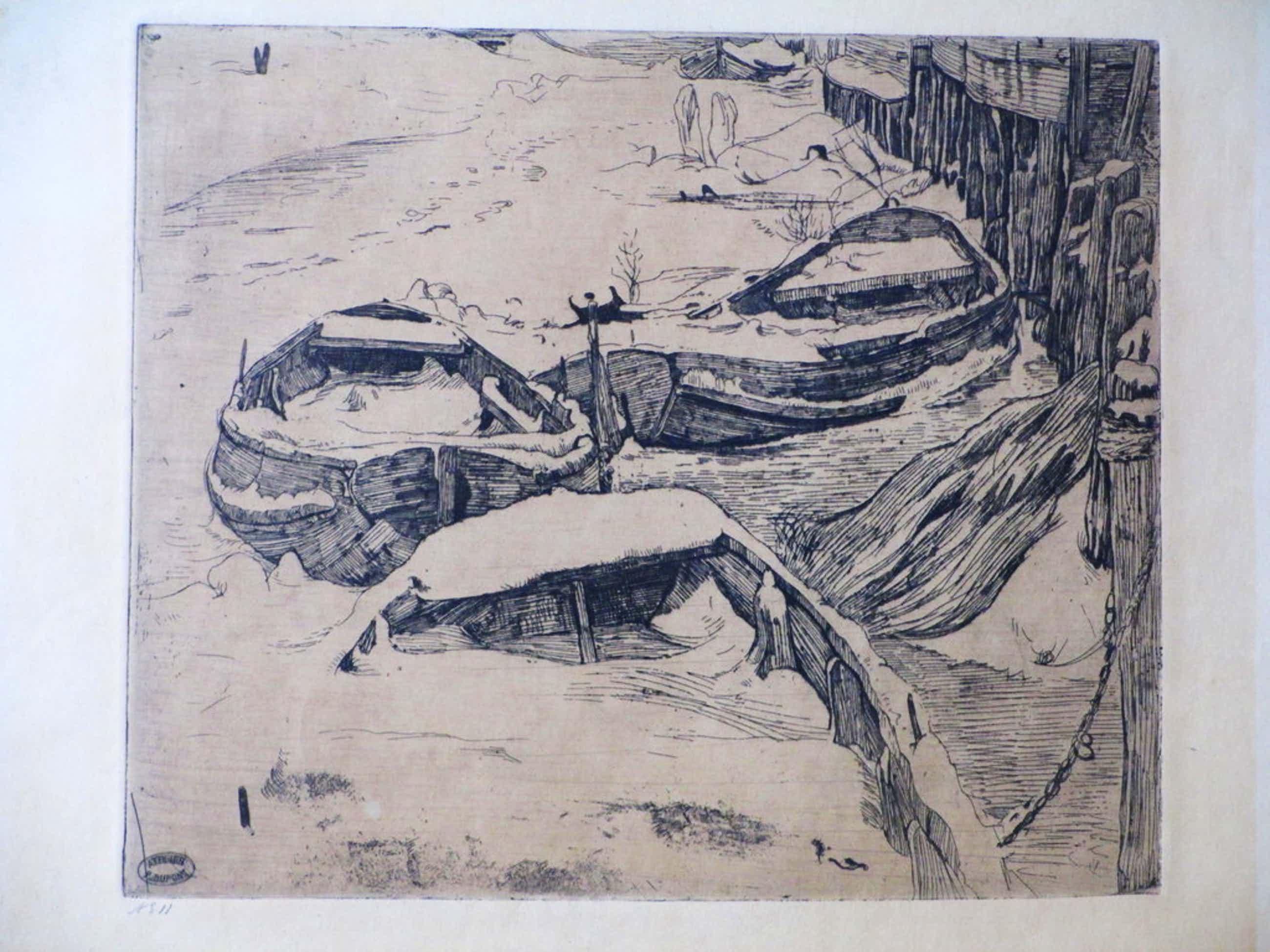 Pieter Dupont, Booten in de sneeuw, Ets op zink 1893-'94 kopen? Bied vanaf 90!