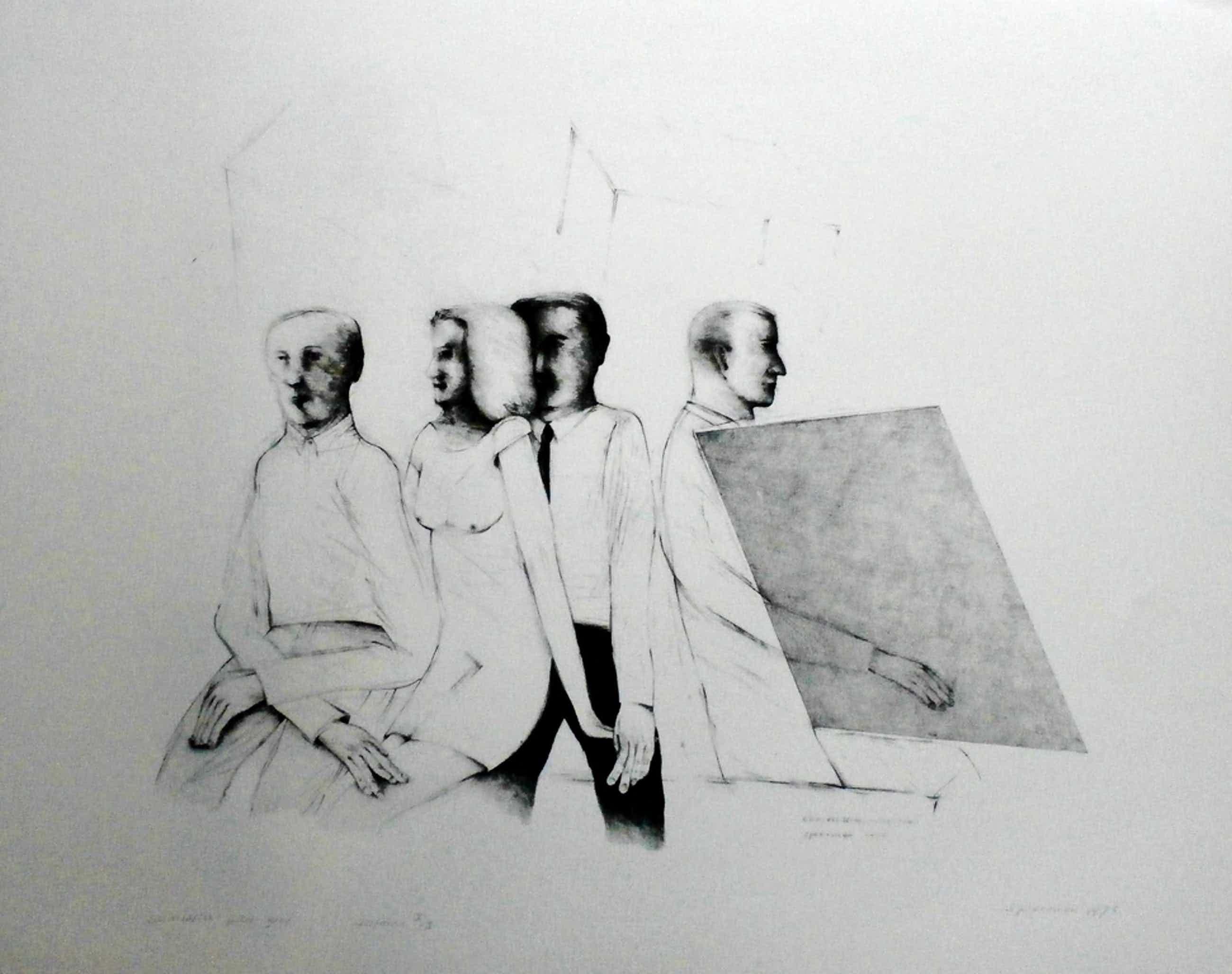 Kees Spermon - Kees Spermon - zeefdruk: conversation piece grey - 1973 kopen? Bied vanaf 45!