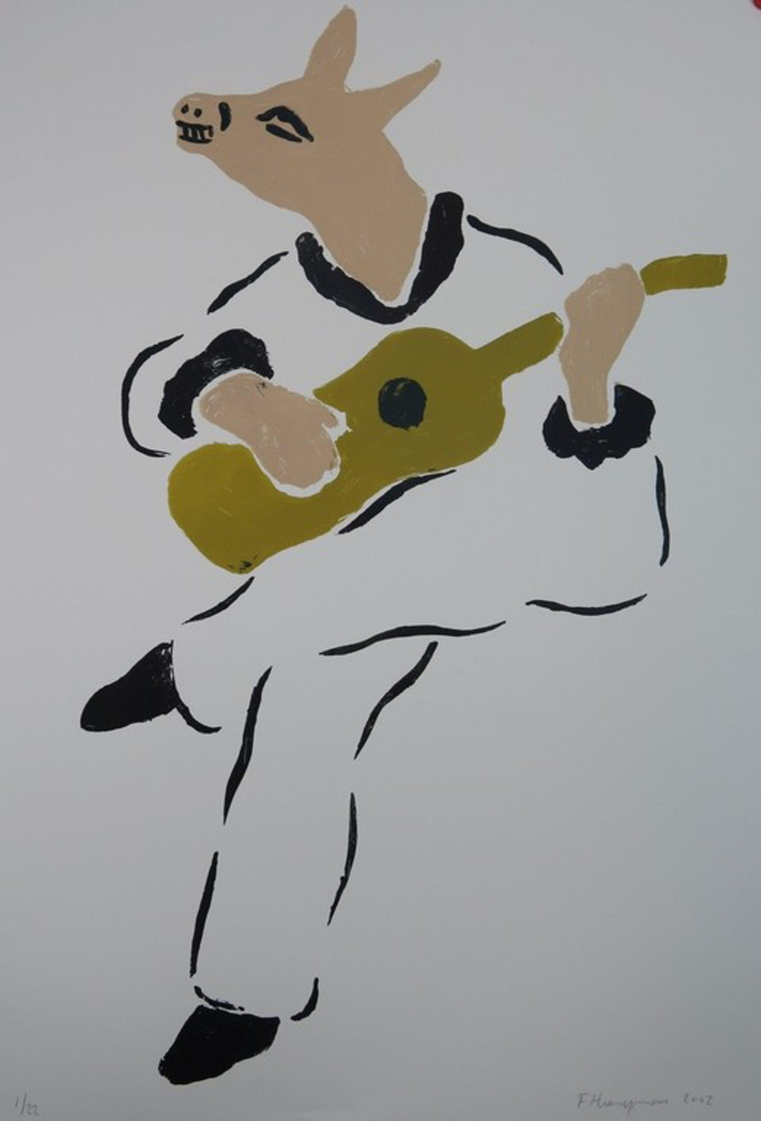 Fons Haagmans: Litho, Ezel met gitaar (groot!) kopen? Bied vanaf 100!